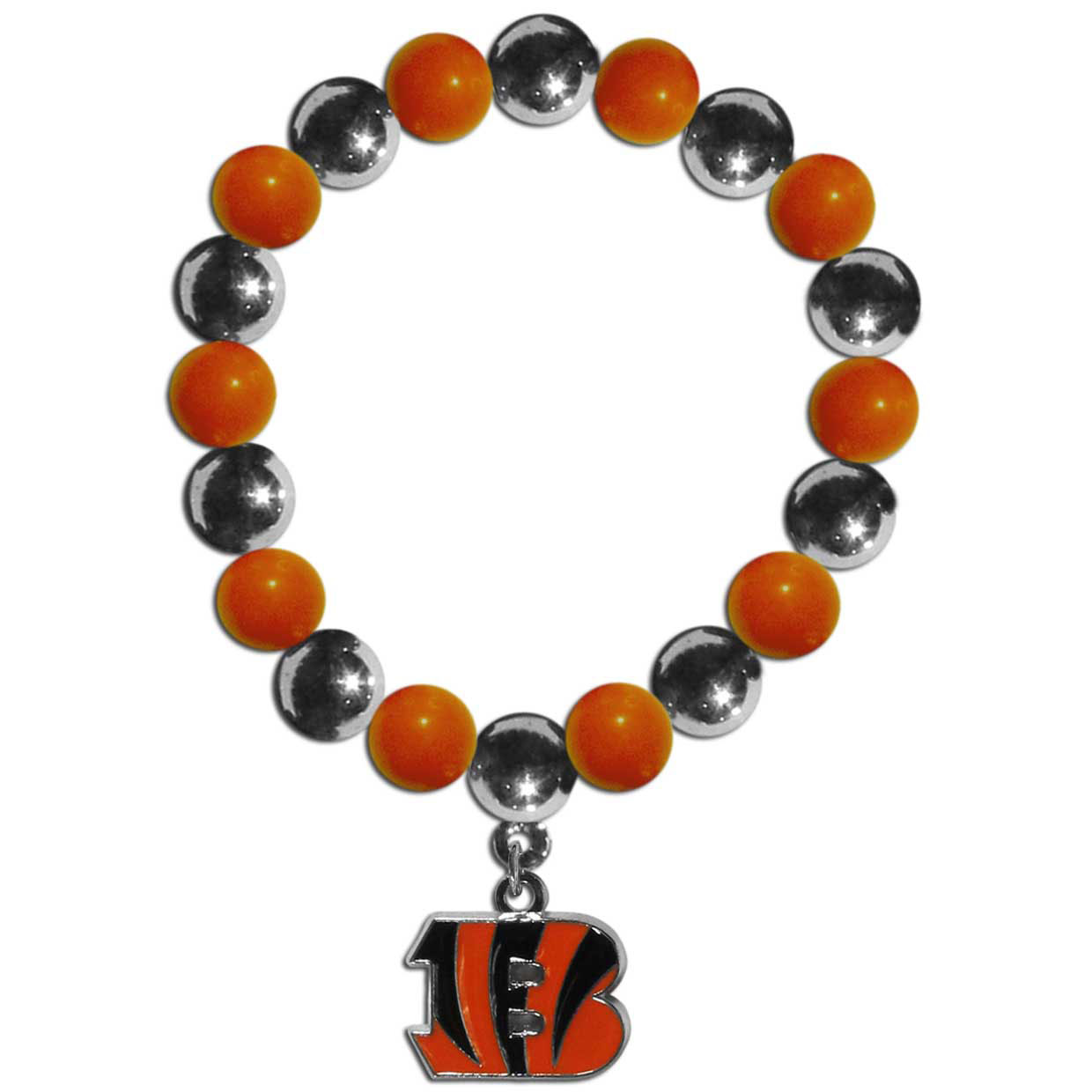 Cincinnati Bengals Chrome Bead Bracelet - Flash your Cincinnati Bengals spirit with this bright stretch bracelet. This new bracelet features alternating charm & team beads on stretch cord with a nickel-free enameled chrome team charm. This bracelet adds the perfect pop of color to your game day accessories.