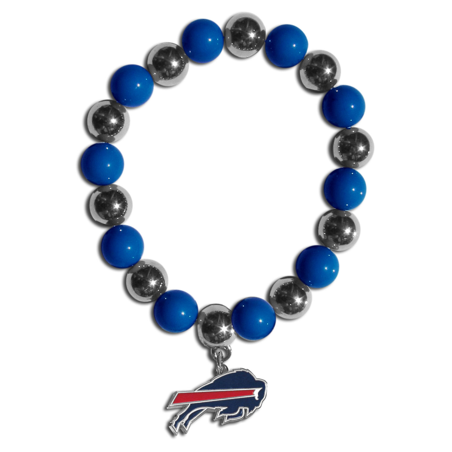 Buffalo Bills Chrome Bead Bracelet - Flash your Buffalo Bills spirit with this bright stretch bracelet. This new bracelet features alternating charm & team beads on stretch cord with a nickel-free enameled chrome team charm. This bracelet adds the perfect pop of color to your game day accessories.