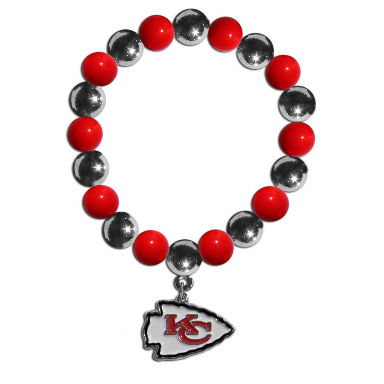 Kansas City Chiefs Chrome Bead Bracelet - Flash your Kansas City Chiefs spirit with this bright stretch bracelet. This new bracelet features alternating charm & team beads on stretch cord with a nickel-free enameled chrome team charm. This bracelet adds the perfect pop of color to your game day accessories.