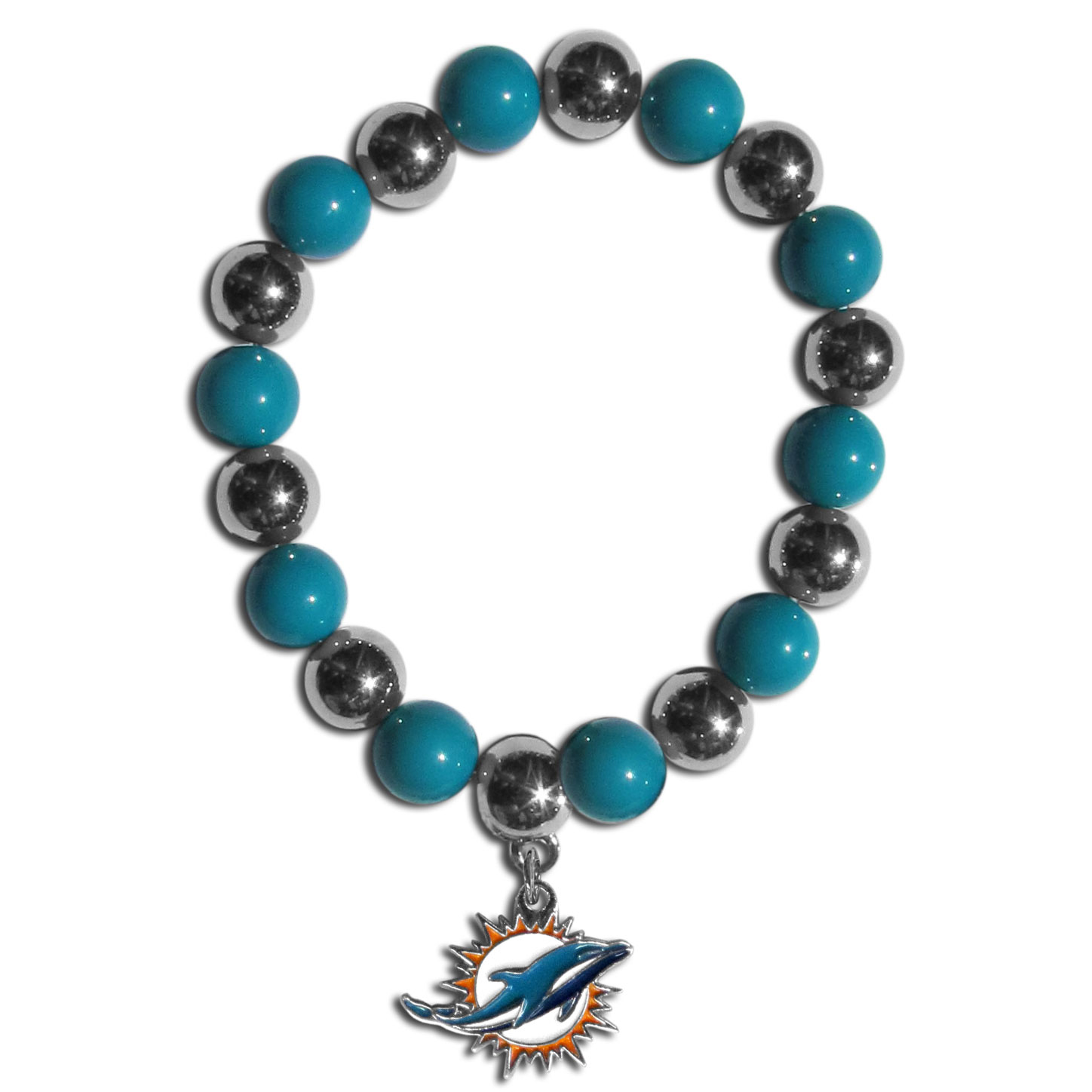 Miami Dolphins Chrome Bead Bracelet - Flash your Miami Dolphins spirit with this bright stretch bracelet. This new bracelet features alternating charm & team beads on stretch cord with a nickel-free enameled chrome team charm. This bracelet adds the perfect pop of color to your game day accessories.