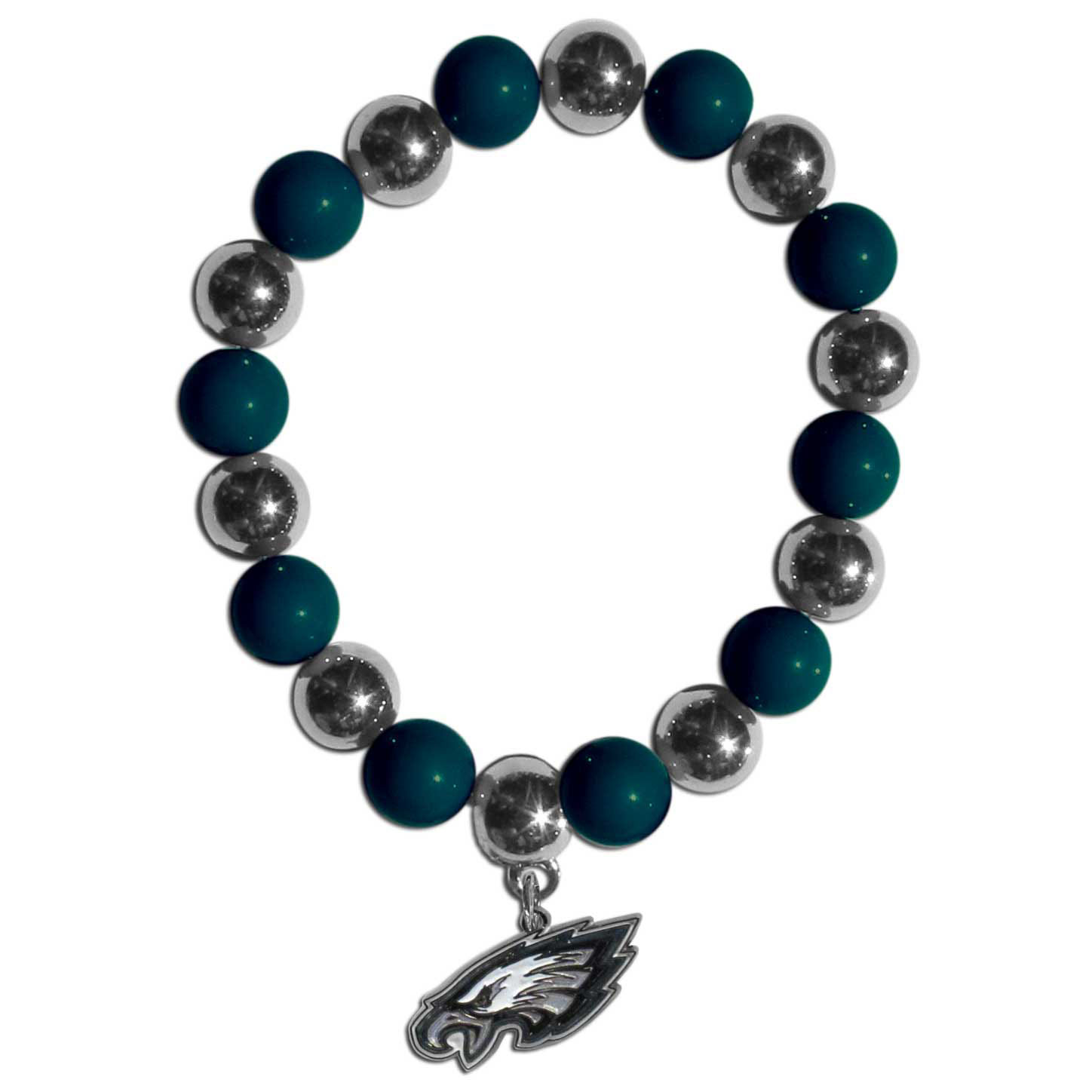 Philadelphia Eagles Chrome Bead Bracelet - Flash your Philadelphia Eagles spirit with this bright stretch bracelet. This new bracelet features alternating charm & team beads on stretch cord with a nickel-free enameled chrome team charm. This bracelet adds the perfect pop of color to your game day accessories.