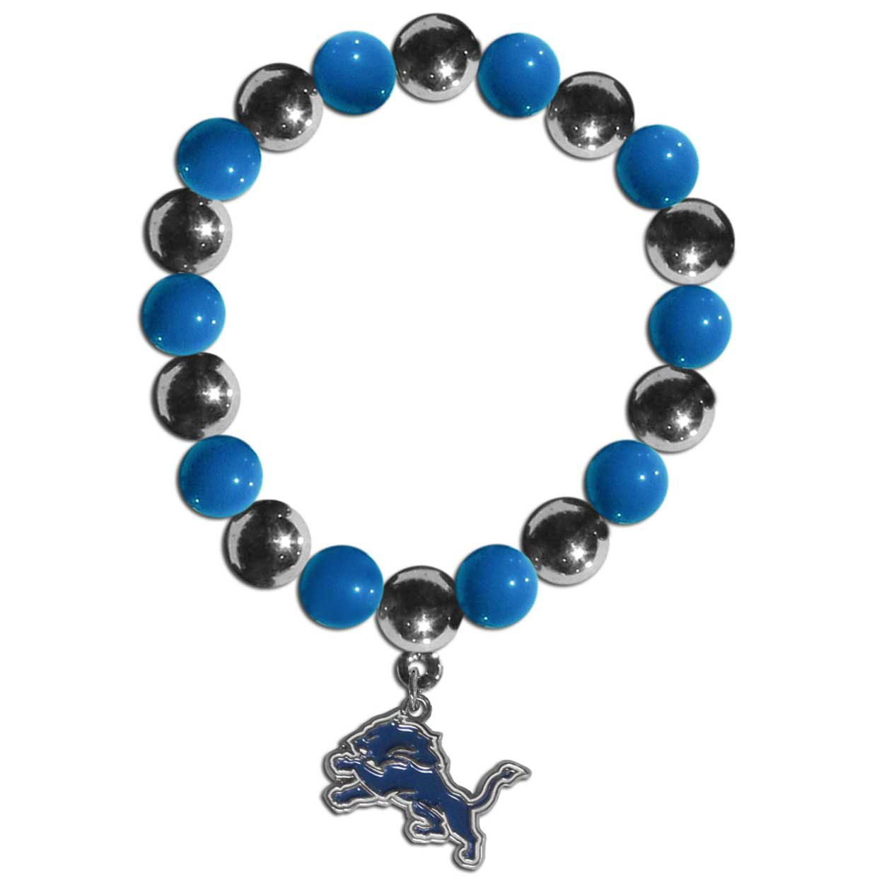 Detroit Lions Chrome Bead Bracelet - Flash your Detroit Lions spirit with this bright stretch bracelet. This new bracelet features alternating charm & team beads on stretch cord with a nickel-free enameled chrome team charm. This bracelet adds the perfect pop of color to your game day accessories.