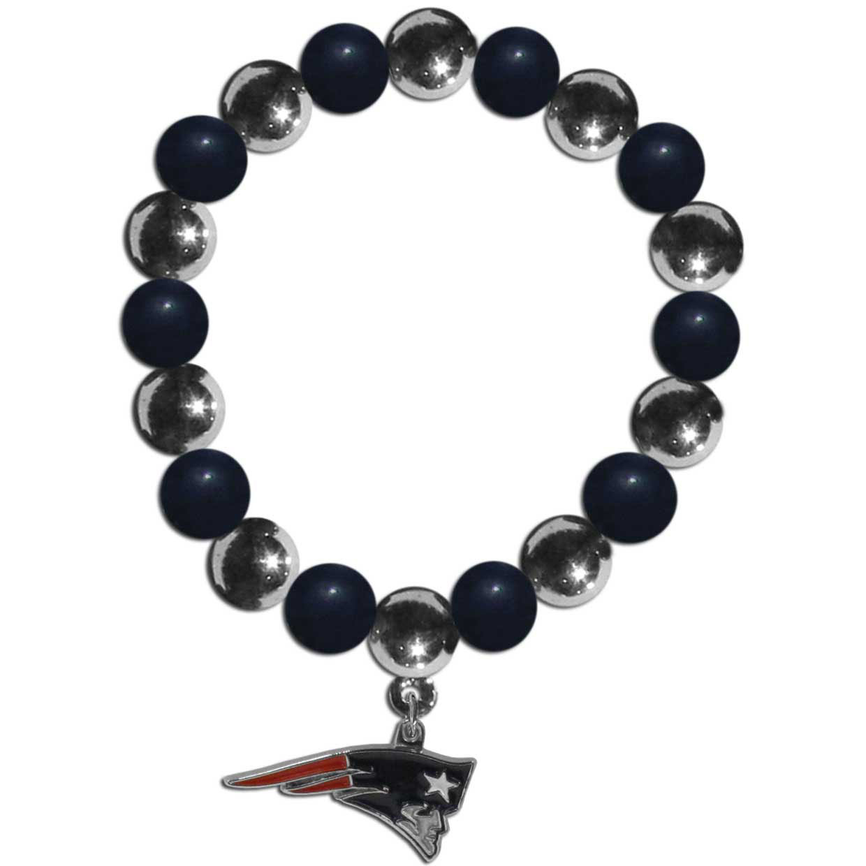 New England Patriots Chrome Bead Bracelet - Flash your New England Patriots spirit with this bright stretch bracelet. This new bracelet features alternating charm & team beads on stretch cord with a nickel-free enameled chrome team charm. This bracelet adds the perfect pop of color to your game day accessories.