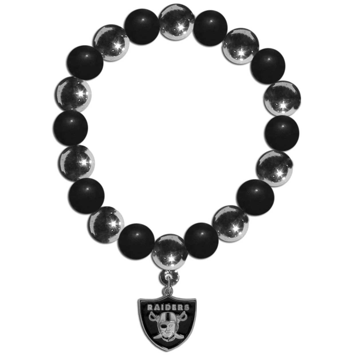 Oakland Raiders Chrome Bead Bracelet - Flash your Oakland Raiders spirit with this bright stretch bracelet. This new bracelet features alternating charm & team beads on stretch cord with a nickel-free enameled chrome team charm. This bracelet adds the perfect pop of color to your game day accessories.
