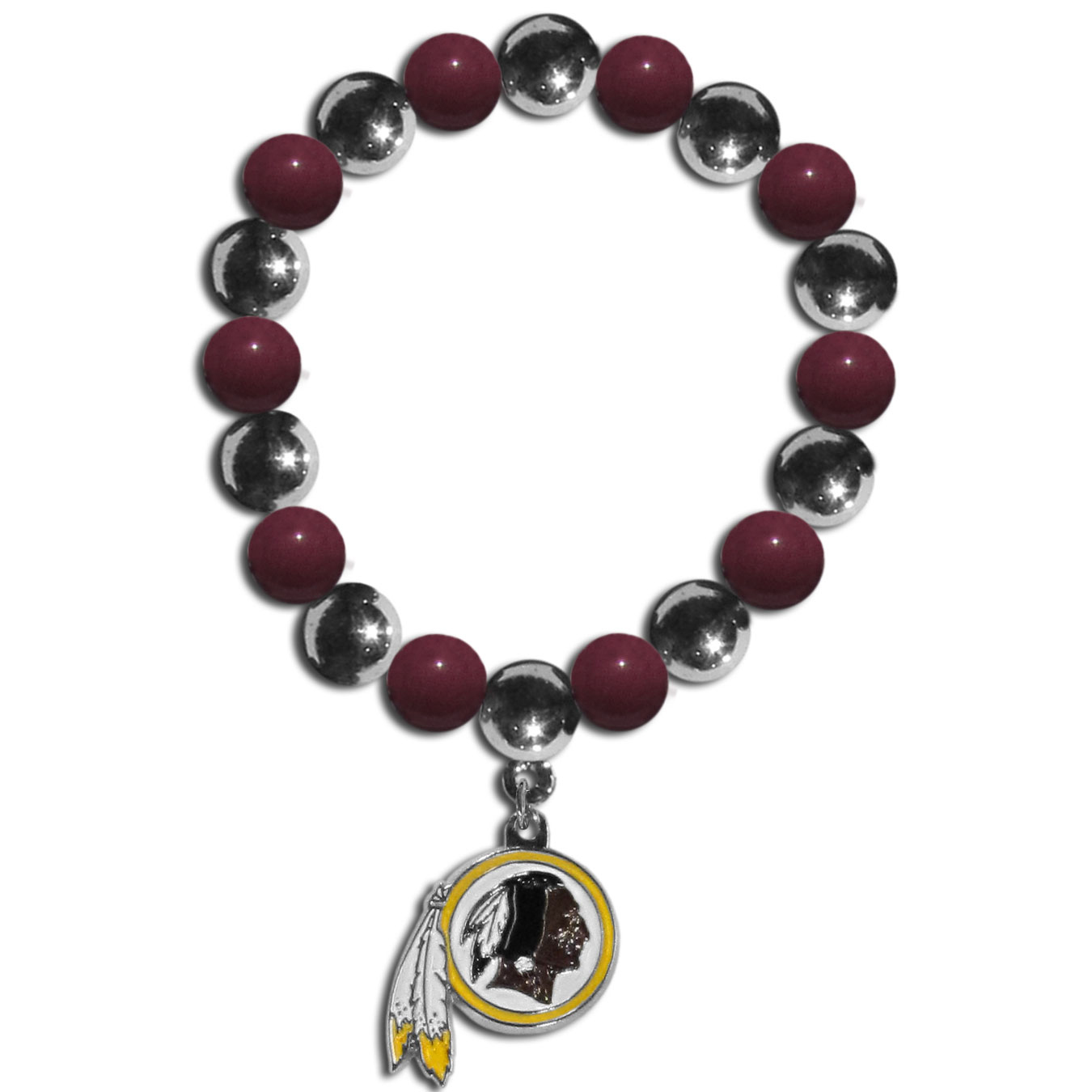 Washington Redskins Chrome Bead Bracelet - Flash your Washington Redskins spirit with this bright stretch bracelet. This new bracelet features alternating charm & team beads on stretch cord with a nickel-free enameled chrome team charm. This bracelet adds the perfect pop of color to your game day accessories.