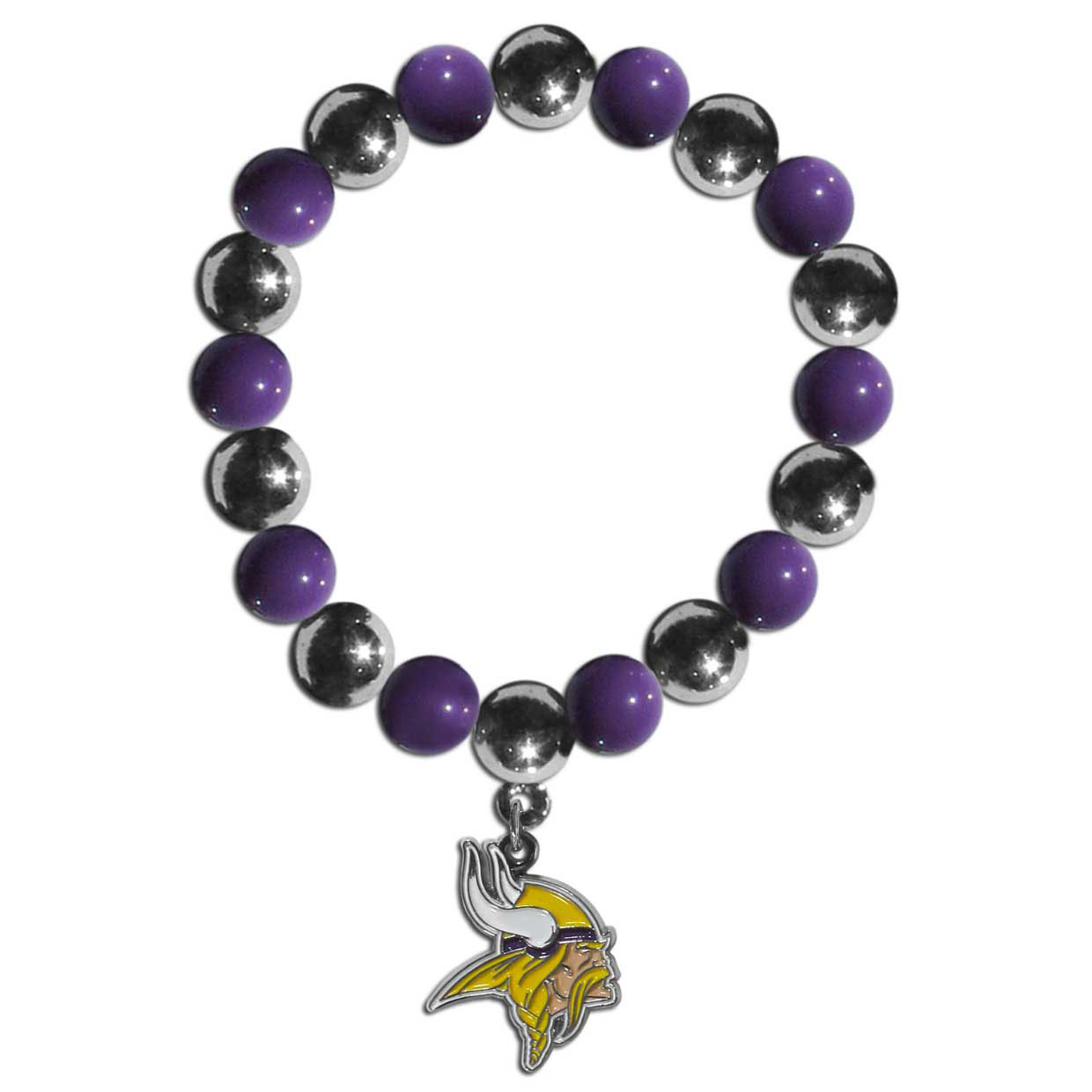 Minnesota Vikings Chrome Bead Bracelet - Flash your Minnesota Vikings spirit with this bright stretch bracelet. This new bracelet features alternating charm & team beads on stretch cord with a nickel-free enameled chrome team charm. This bracelet adds the perfect pop of color to your game day accessories.
