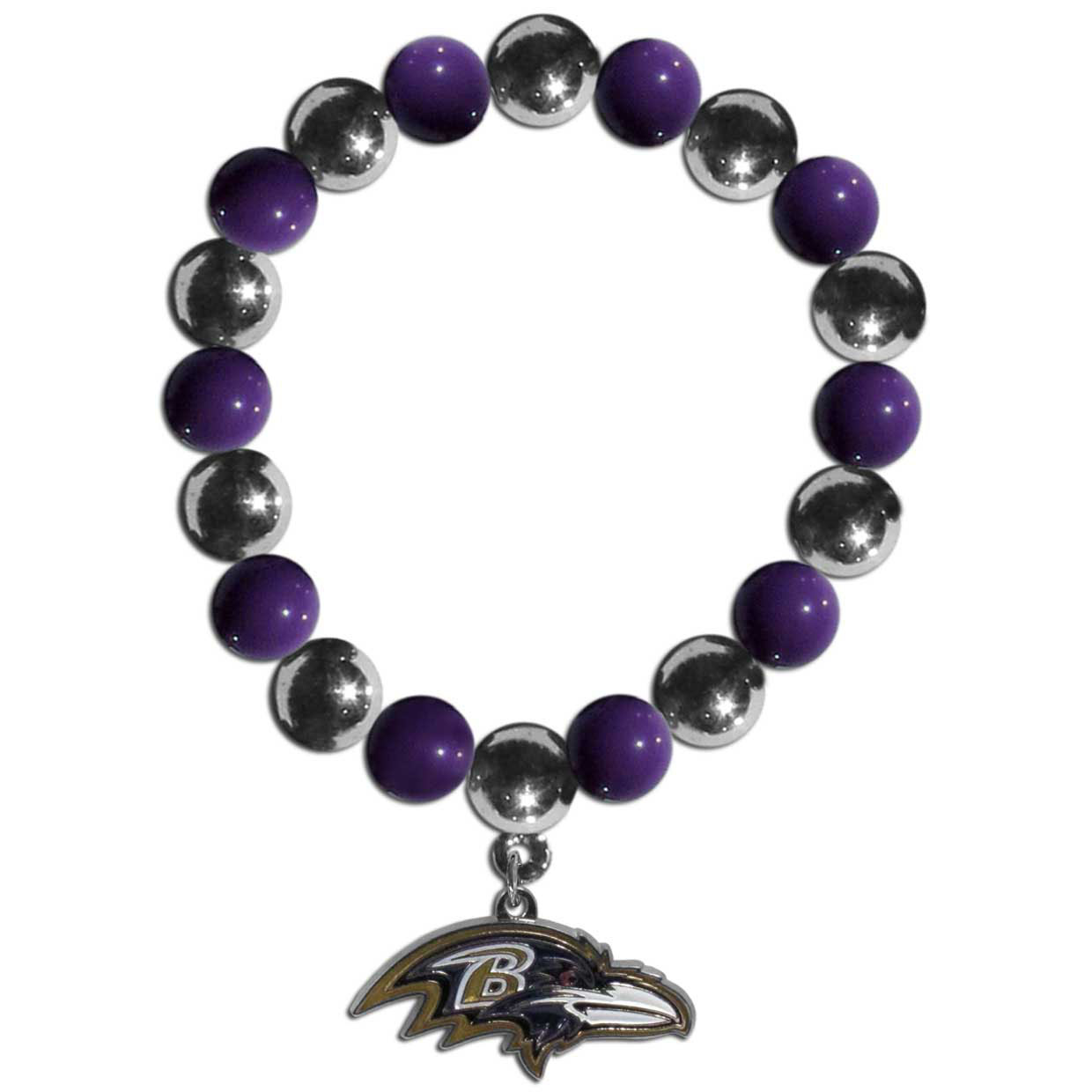 Baltimore Ravens Chrome Bead Bracelet - Flash your Baltimore Ravens spirit with this bright stretch bracelet. This new bracelet features alternating charm & team beads on stretch cord with a nickel-free enameled chrome team charm. This bracelet adds the perfect pop of color to your game day accessories.
