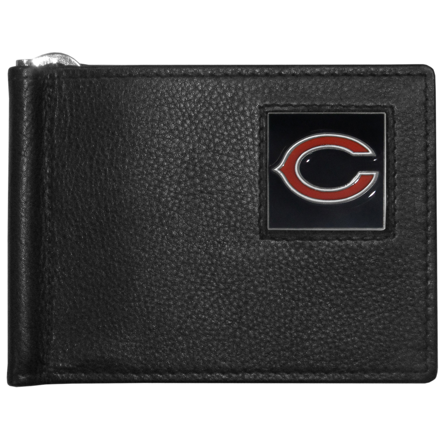 Chicago Bears Leather Bill Clip Wallet - This cool new style wallet features an inner, metal bill clip that lips up for easy access. The super slim wallet holds tons of stuff with ample pockets, credit card slots & windowed ID slot.  The wallet is made of genuine fine grain leather and it finished with a metal Chicago Bears emblem. The wallet is shipped in gift box packaging.
