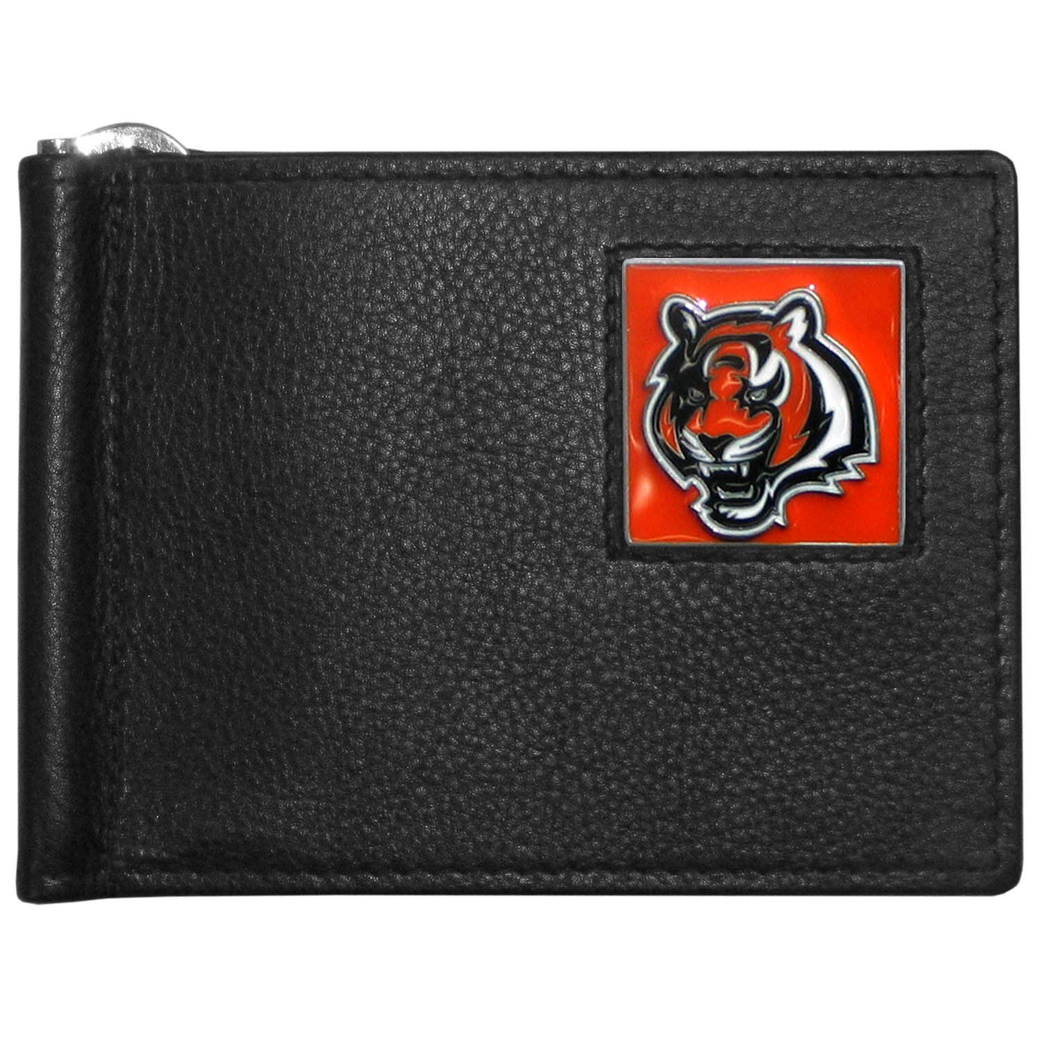 Cincinnati Bengals Leather Bill Clip Wallet - This cool new style wallet features an inner, metal bill clip that lips up for easy access. The super slim wallet holds tons of stuff with ample pockets, credit card slots & windowed ID slot.  The wallet is made of genuine fine grain leather and it finished with a metal Cincinnati Bengals emblem. The wallet is shipped in gift box packaging.