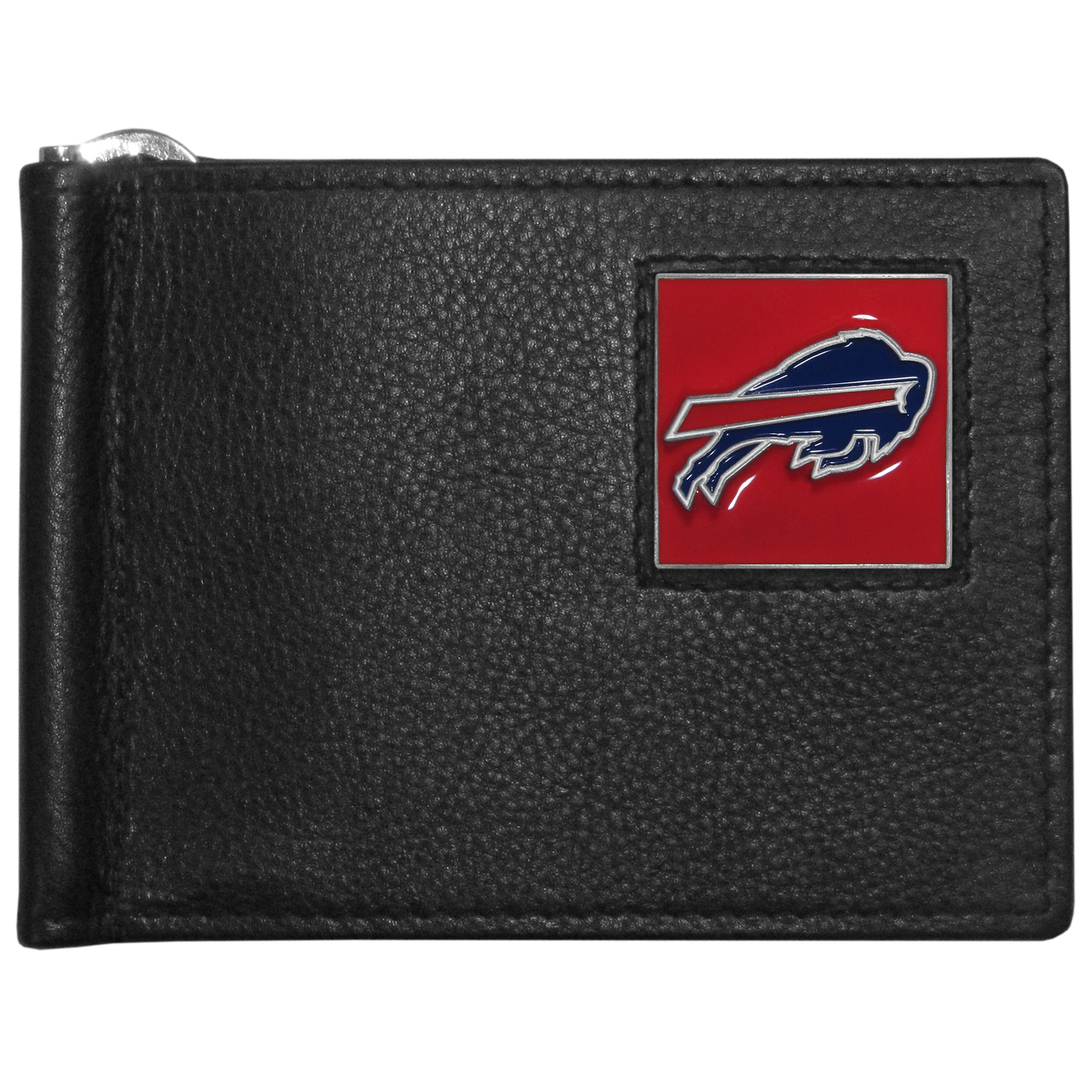 Buffalo Bills Leather Bill Clip Wallet - This cool new style wallet features an inner, metal bill clip that lips up for easy access. The super slim wallet holds tons of stuff with ample pockets, credit card slots & windowed ID slot.  The wallet is made of genuine fine grain leather and it finished with a metal Buffalo Bills emblem. The wallet is shipped in gift box packaging.