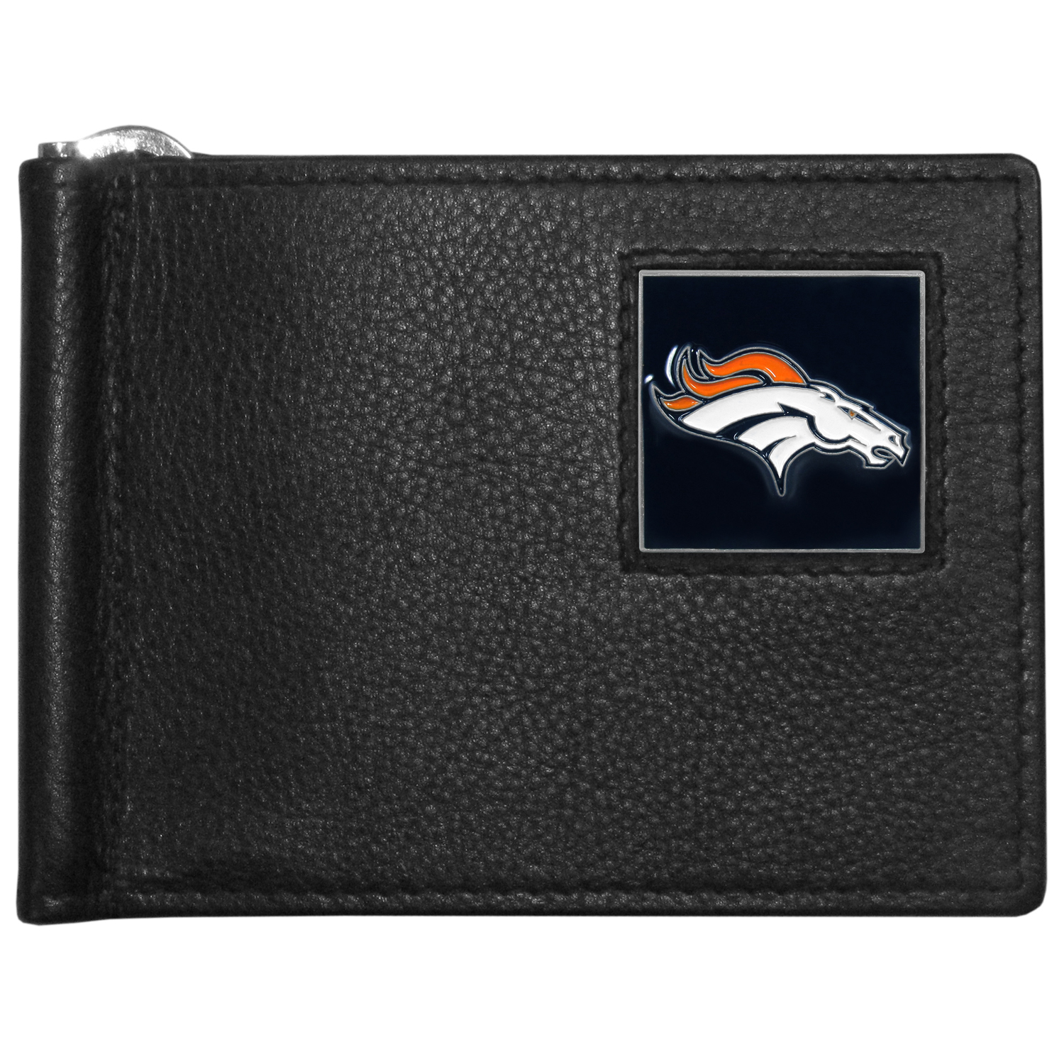 Denver Broncos Leather Bill Clip Wallet - This cool new style wallet features an inner, metal bill clip that lips up for easy access. The super slim wallet holds tons of stuff with ample pockets, credit card slots & windowed ID slot.  The wallet is made of genuine fine grain leather and it finished with a metal Denver Broncos emblem. The wallet is shipped in gift box packaging.