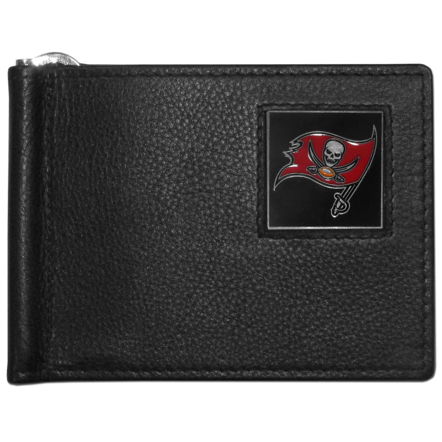 Tampa Bay Buccaneers Leather Bill Clip Wallet - This cool new style wallet features an inner, metal bill clip that lips up for easy access. The super slim wallet holds tons of stuff with ample pockets, credit card slots & windowed ID slot.  The wallet is made of genuine fine grain leather and it finished with a metal Tampa Bay Buccaneers emblem. The wallet is shipped in gift box packaging.