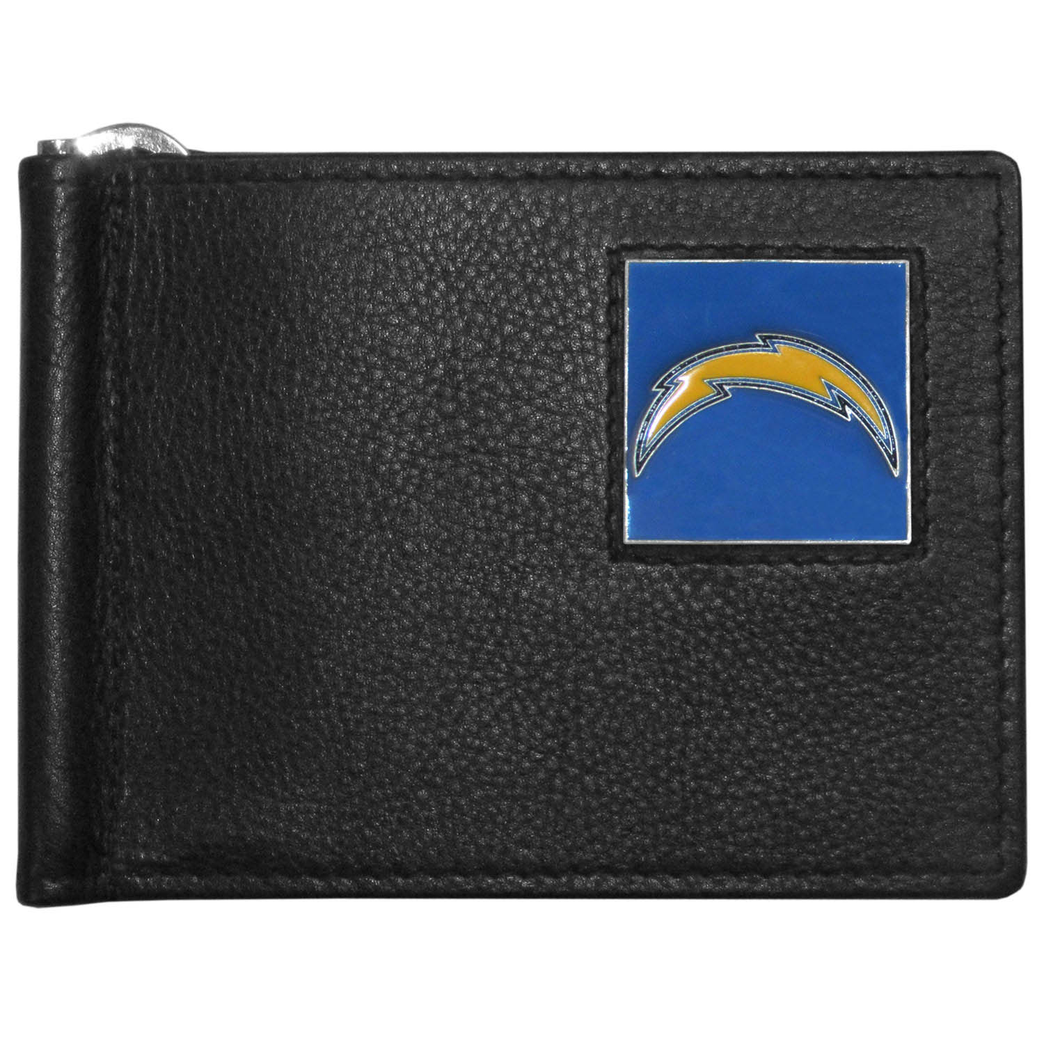 Los Angeles Chargers Leather Bill Clip Wallet - This cool new style wallet features an inner, metal bill clip that lips up for easy access. The super slim wallet holds tons of stuff with ample pockets, credit card slots & windowed ID slot.  The wallet is made of genuine fine grain leather and it finished with a metal Los Angeles Chargers emblem. The wallet is shipped in gift box packaging.