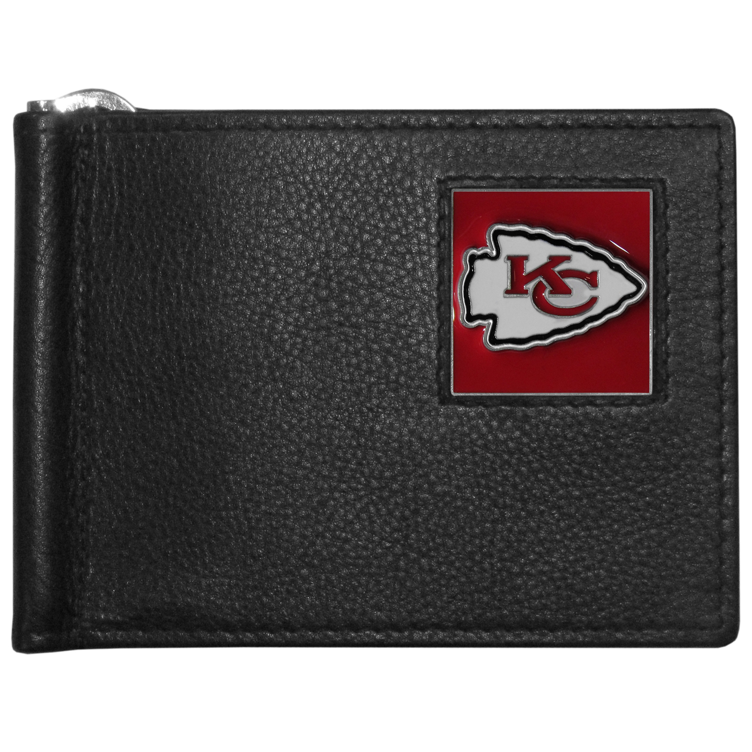 Kansas City Chiefs Leather Bill Clip Wallet - This cool new style wallet features an inner, metal bill clip that lips up for easy access. The super slim wallet holds tons of stuff with ample pockets, credit card slots & windowed ID slot.  The wallet is made of genuine fine grain leather and it finished with a metal Kansas City Chiefs emblem. The wallet is shipped in gift box packaging.