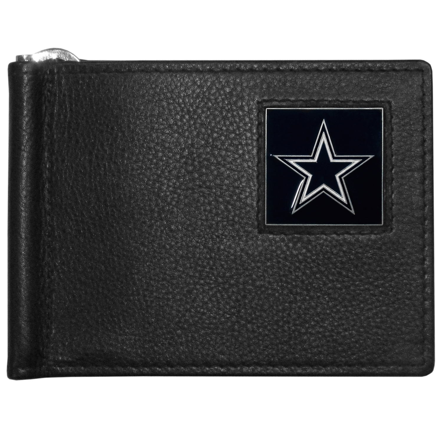 Dallas Cowboys Leather Bill Clip Wallet - This cool new style wallet features an inner, metal bill clip that lips up for easy access. The super slim wallet holds tons of stuff with ample pockets, credit card slots & windowed ID slot.  The wallet is made of genuine fine grain leather and it finished with a metal Dallas Cowboys emblem. The wallet is shipped in gift box packaging.