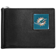 Miami Dolphins Leather Bill Clip Wallet - This cool new style features an inner, metal bill clip that lips up for easy access. The super slim wallet holds tons of stuff with ample pockets, credit card slots & windowed ID slot.  The wallet is made of genuine fine grain leather and it finished with a metal team emblem. The wallet is shipped in gift box packaging. Officially licensed NFL product Licensee: Siskiyou Buckle .com