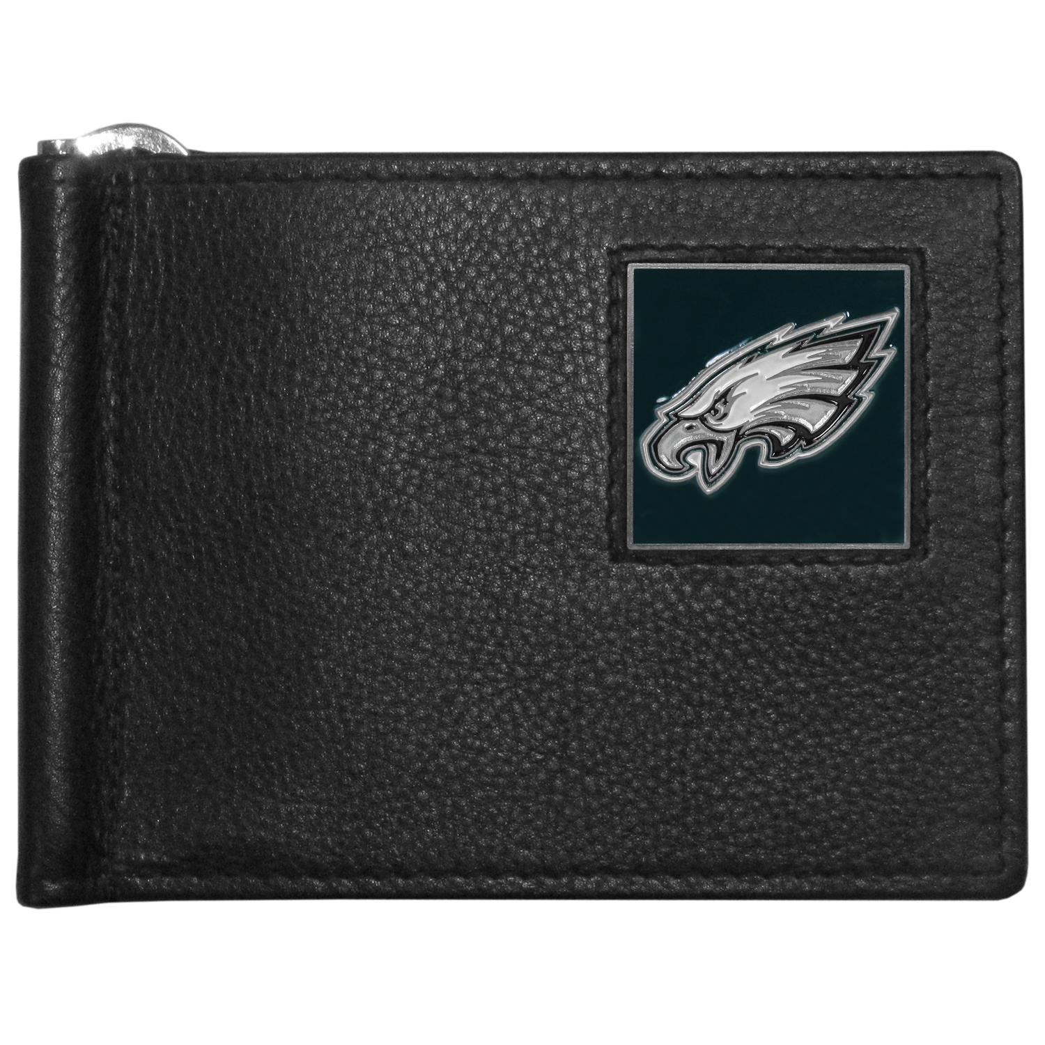 Philadelphia Eagles Leather Bill Clip Wallet - This cool new style wallet features an inner, metal bill clip that lips up for easy access. The super slim wallet holds tons of stuff with ample pockets, credit card slots & windowed ID slot.  The wallet is made of genuine fine grain leather and it finished with a metal Philadelphia Eagles emblem. The wallet is shipped in gift box packaging.