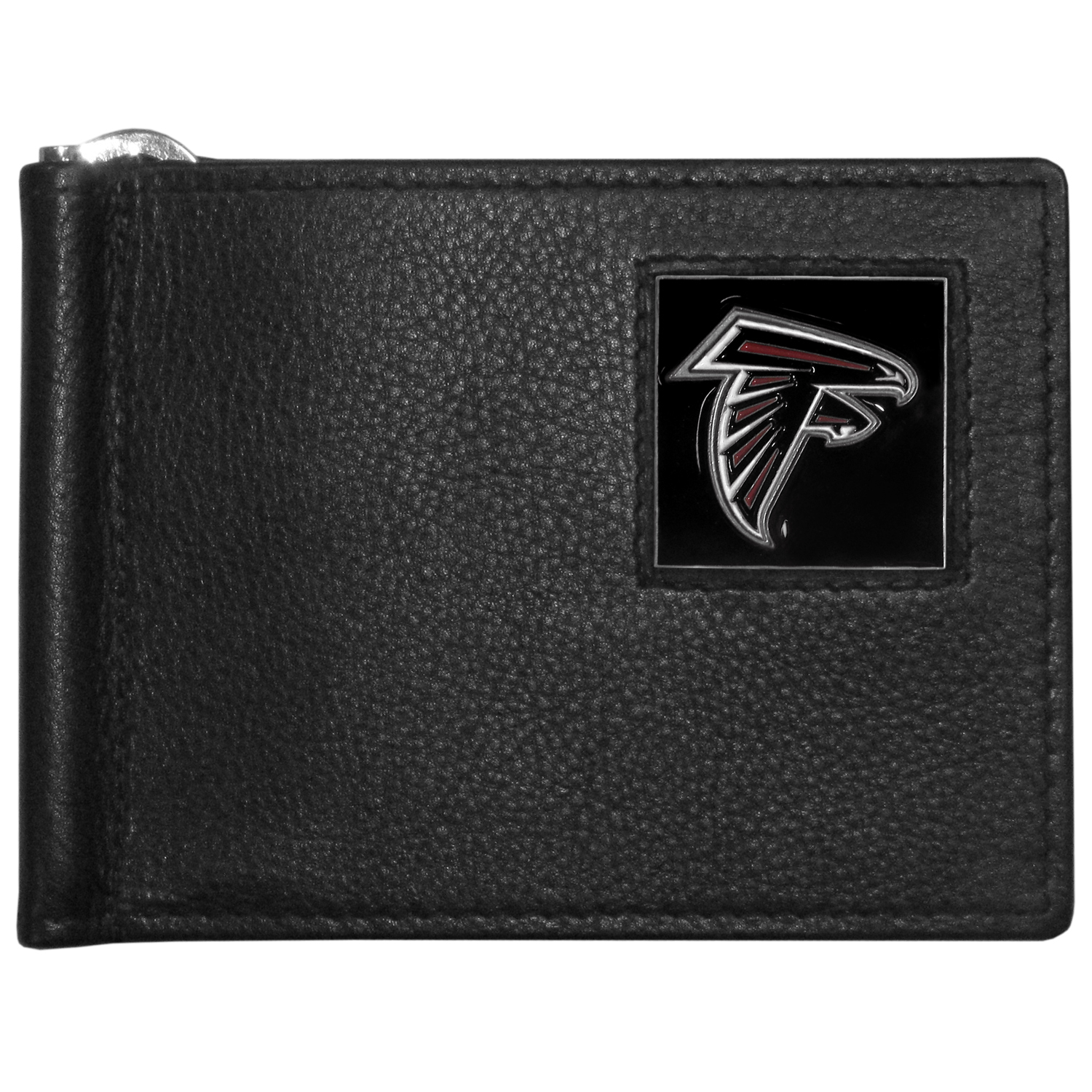 Atlanta Falcons Leather Bill Clip Wallet - This cool new style wallet features an inner, metal bill clip that lips up for easy access. The super slim wallet holds tons of stuff with ample pockets, credit card slots & windowed ID slot.  The wallet is made of genuine fine grain leather and it finished with a metal Atlanta Falcons emblem. The wallet is shipped in gift box packaging.