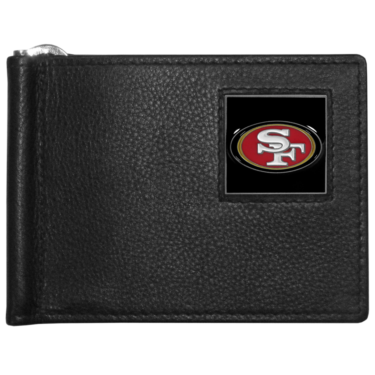 San Francisco 49ers Leather Bill Clip Wallet - This cool new style wallet features an inner, metal bill clip that lips up for easy access. The super slim wallet holds tons of stuff with ample pockets, credit card slots & windowed ID slot.  The wallet is made of genuine fine grain leather and it finished with a metal San Francisco 49ers emblem. The wallet is shipped in gift box packaging.