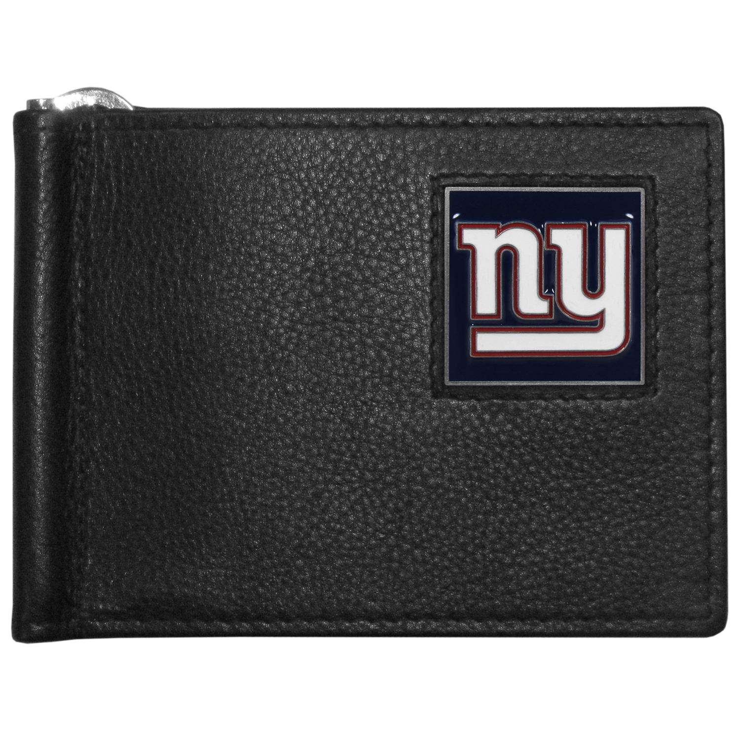 New York Giants Leather Bill Clip Wallet - This cool new style wallet features an inner, metal bill clip that lips up for easy access. The super slim wallet holds tons of stuff with ample pockets, credit card slots & windowed ID slot.  The wallet is made of genuine fine grain leather and it finished with a metal New York Giants emblem. The wallet is shipped in gift box packaging.