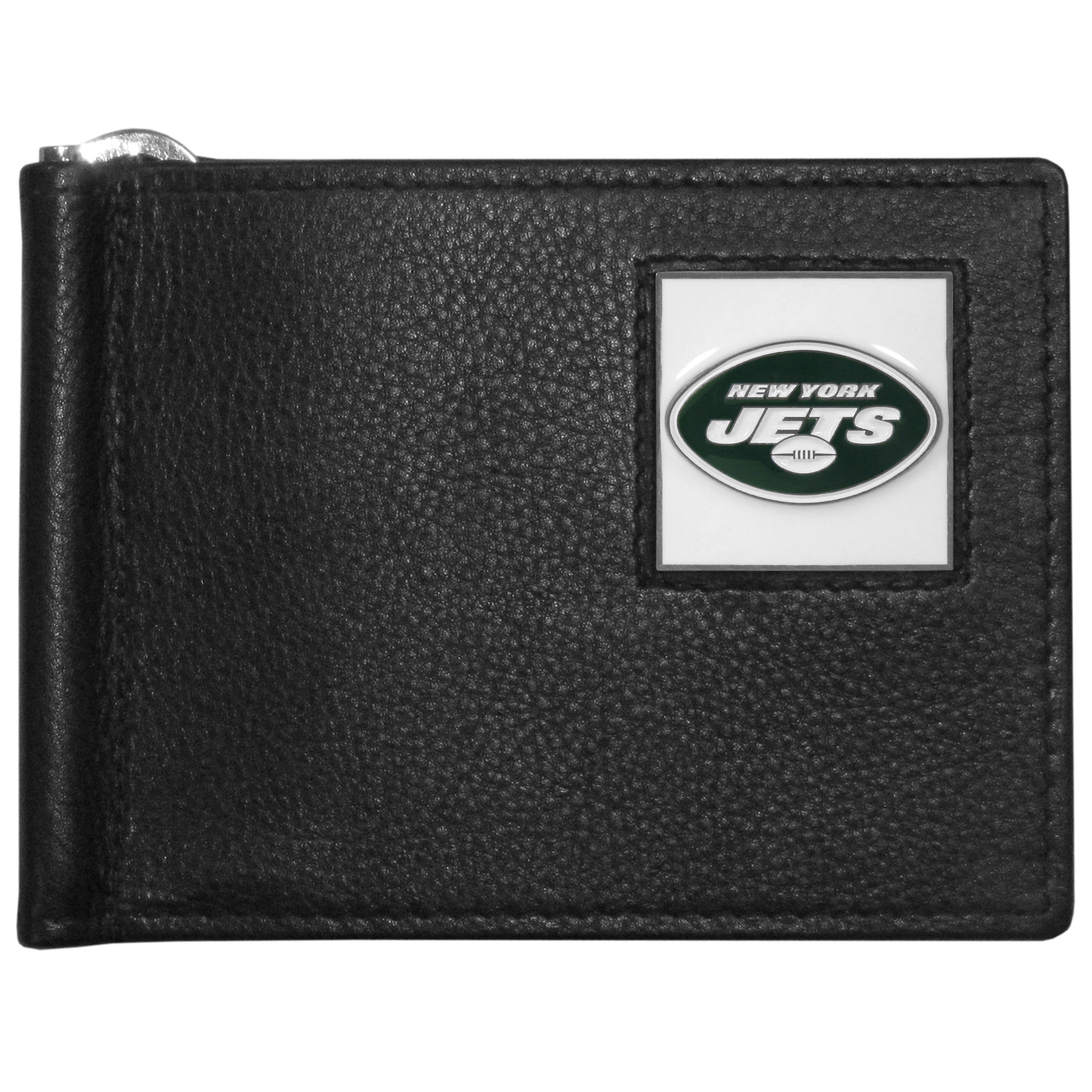 New York Jets Leather Bill Clip Wallet - This cool new style wallet features an inner, metal bill clip that lips up for easy access. The super slim wallet holds tons of stuff with ample pockets, credit card slots & windowed ID slot.  The wallet is made of genuine fine grain leather and it finished with a metal New York Jets emblem. The wallet is shipped in gift box packaging.