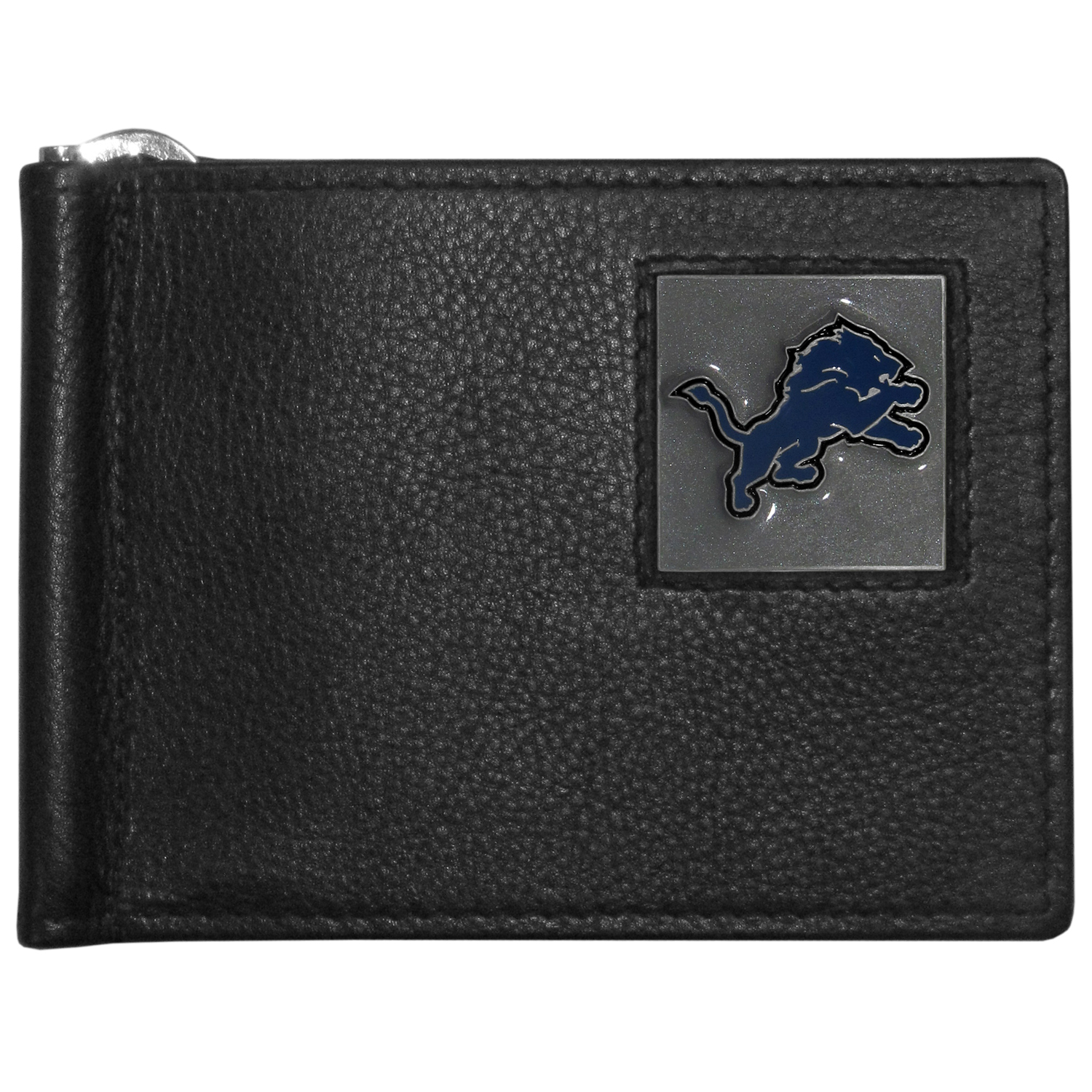 Detroit Lions Leather Bill Clip Wallet - This cool new style wallet features an inner, metal bill clip that lips up for easy access. The super slim wallet holds tons of stuff with ample pockets, credit card slots & windowed ID slot.  The wallet is made of genuine fine grain leather and it finished with a metal Detroit Lions emblem. The wallet is shipped in gift box packaging.