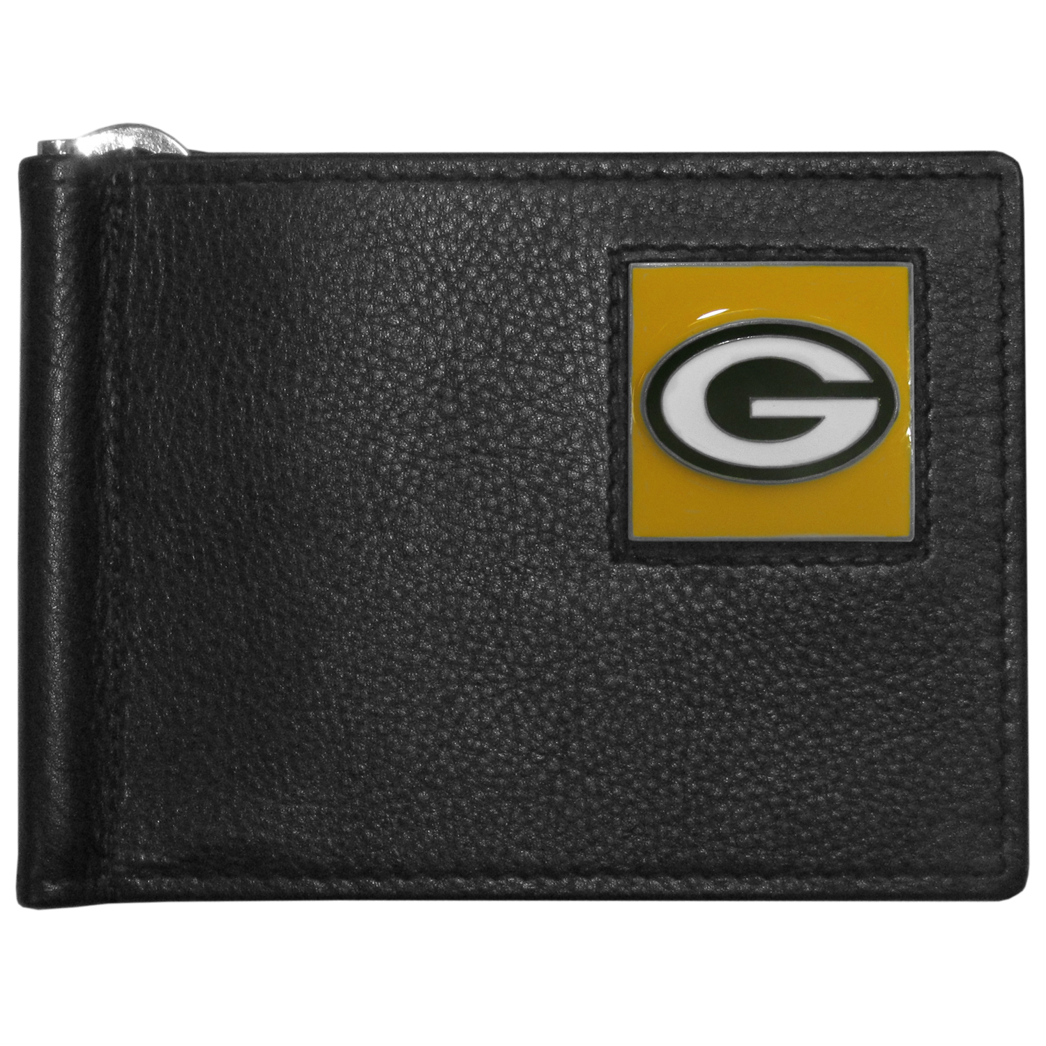Green Bay Packers Leather Bill Clip Wallet - This cool new style wallet features an inner, metal bill clip that lips up for easy access. The super slim wallet holds tons of stuff with ample pockets, credit card slots & windowed ID slot.  The wallet is made of genuine fine grain leather and it finished with a metal Green Bay Packers emblem. The wallet is shipped in gift box packaging.