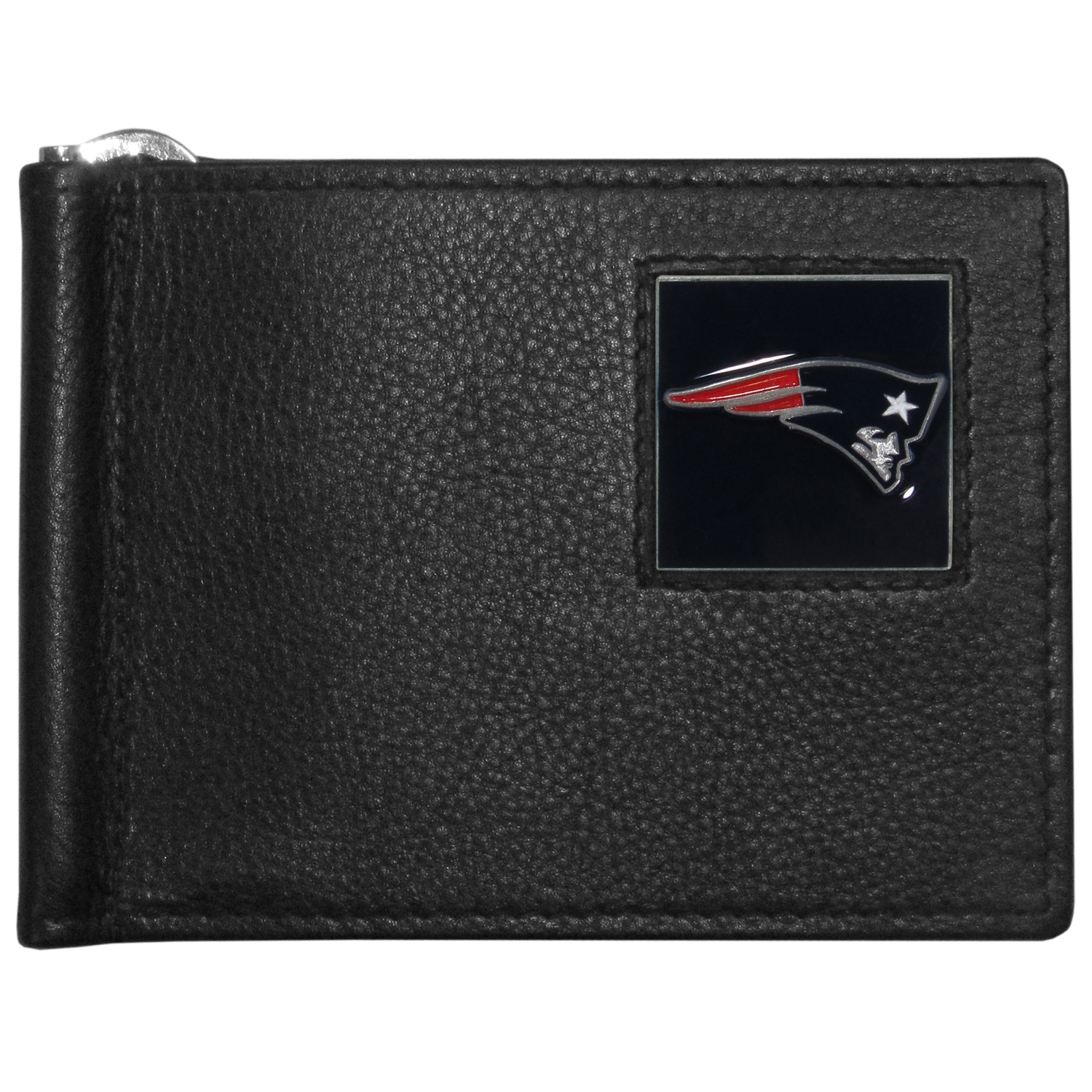 New England Patriots Leather Bill Clip Wallet - This cool new style wallet features an inner, metal bill clip that lips up for easy access. The super slim wallet holds tons of stuff with ample pockets, credit card slots & windowed ID slot.  The wallet is made of genuine fine grain leather and it finished with a metal New England Patriots emblem. The wallet is shipped in gift box packaging.