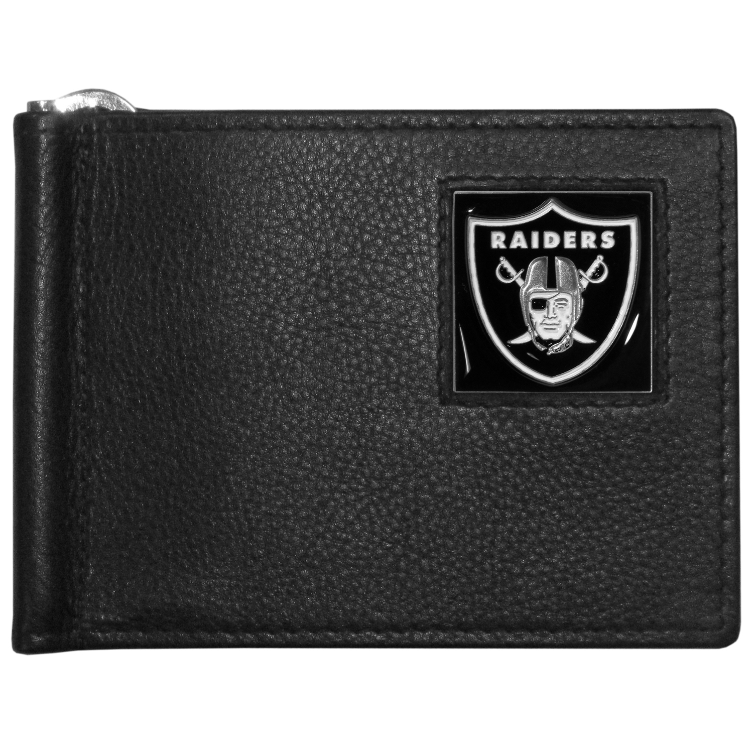 Oakland Raiders Leather Bill Clip Wallet - This cool new style wallet features an inner, metal bill clip that lips up for easy access. The super slim wallet holds tons of stuff with ample pockets, credit card slots & windowed ID slot.  The wallet is made of genuine fine grain leather and it finished with a metal Oakland Raiders emblem. The wallet is shipped in gift box packaging.