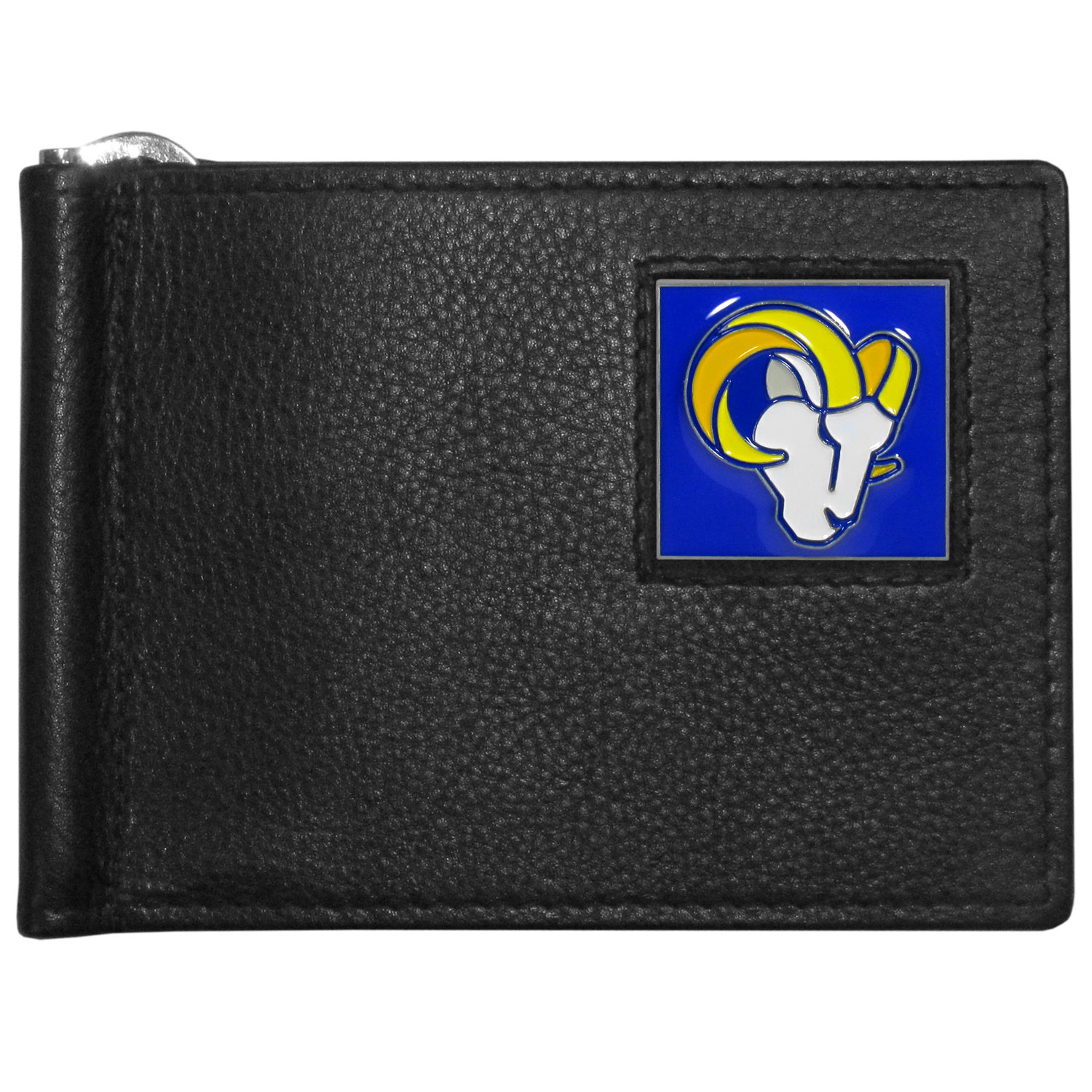St. Louis Rams Leather Bill Clip Wallet - This cool new style wallet features an inner, metal bill clip that lips up for easy access. The super slim wallet holds tons of stuff with ample pockets, credit card slots & windowed ID slot.  The wallet is made of genuine fine grain leather and it finished with a metal St. Louis Rams emblem. The wallet is shipped in gift box packaging.
