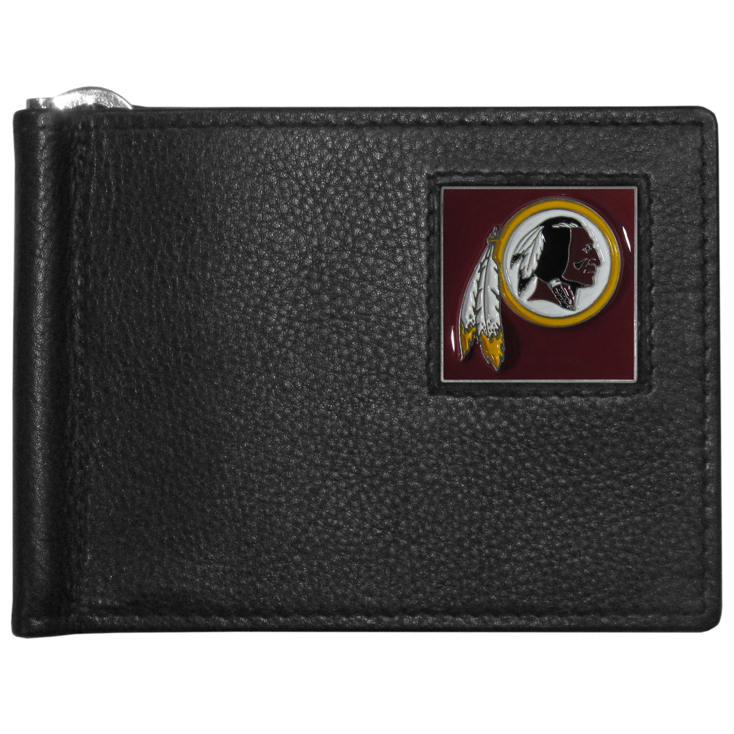Washington Redskins Leather Bill Clip Wallet - This cool new style wallet features an inner, metal bill clip that lips up for easy access. The super slim wallet holds tons of stuff with ample pockets, credit card slots & windowed ID slot.  The wallet is made of genuine fine grain leather and it finished with a metal Washington Redskins emblem. The wallet is shipped in gift box packaging.