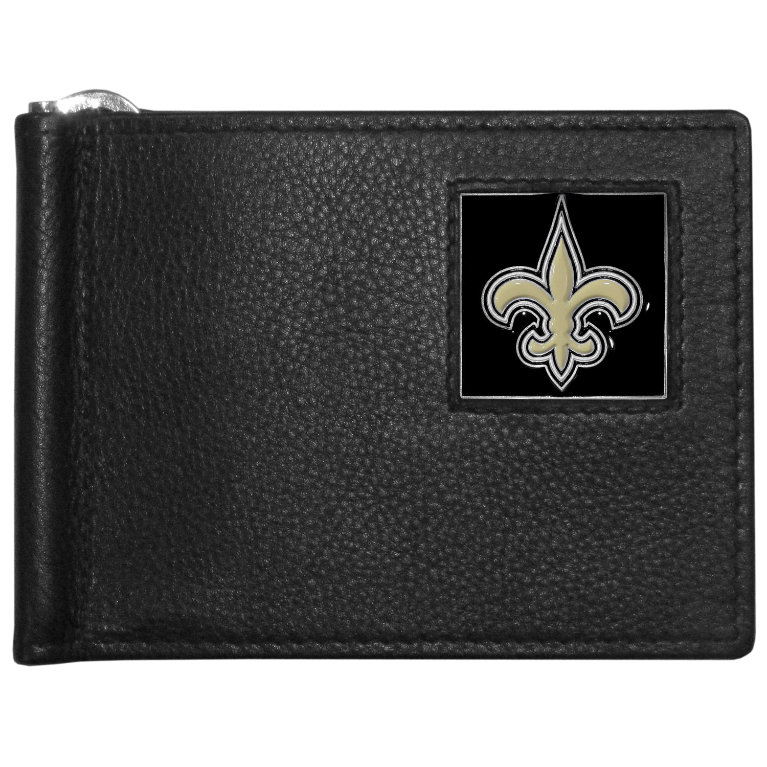 New Orleans Saints Leather Bill Clip Wallet - This cool new style wallet features an inner, metal bill clip that lips up for easy access. The super slim wallet holds tons of stuff with ample pockets, credit card slots & windowed ID slot.  The wallet is made of genuine fine grain leather and it finished with a metal New Orleans Saints emblem. The wallet is shipped in gift box packaging.