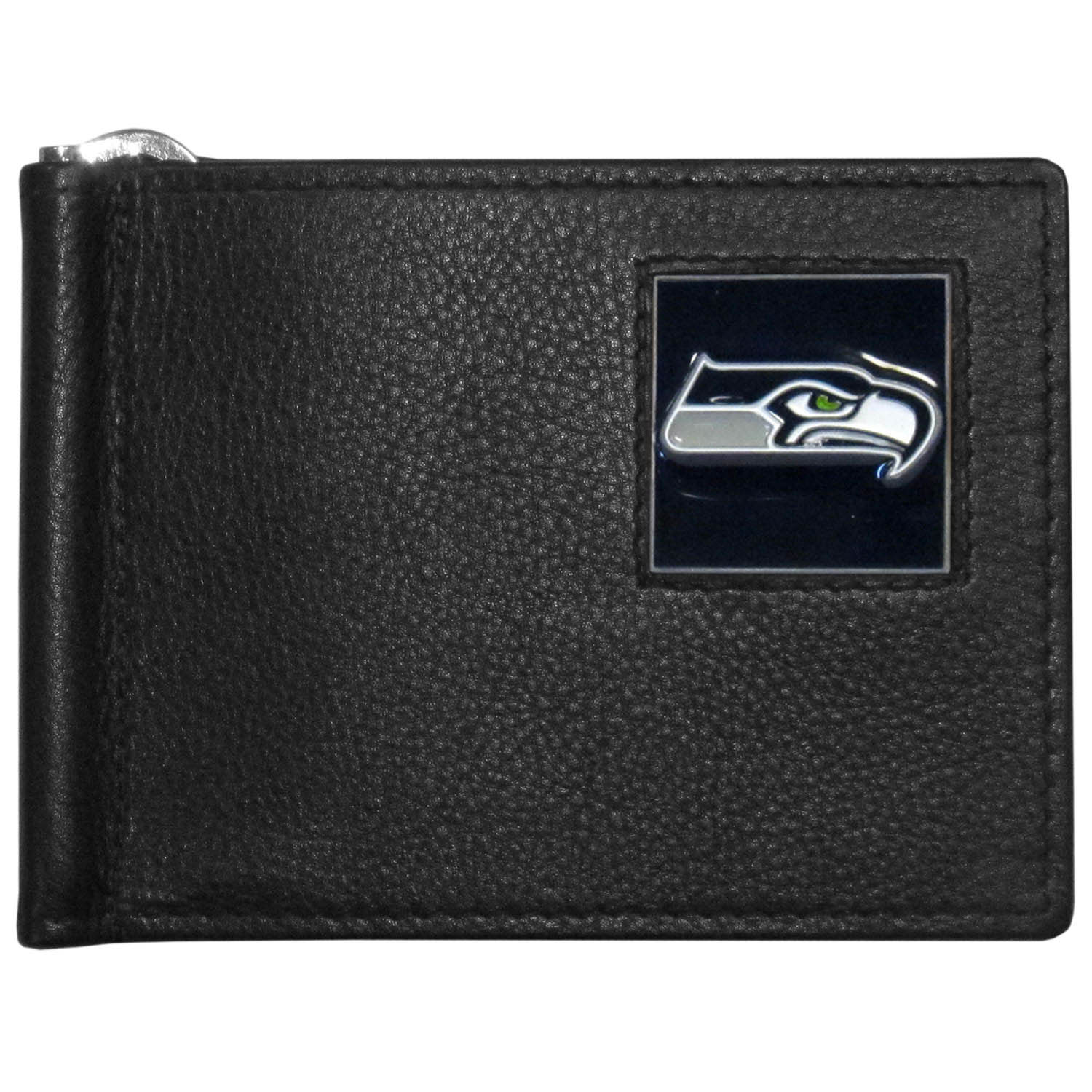 Seattle Seahawks Leather Bill Clip Wallet - This cool new style wallet features an inner, metal bill clip that lips up for easy access. The super slim wallet holds tons of stuff with ample pockets, credit card slots & windowed ID slot.  The wallet is made of genuine fine grain leather and it finished with a metal Seattle Seahawks emblem. The wallet is shipped in gift box packaging.