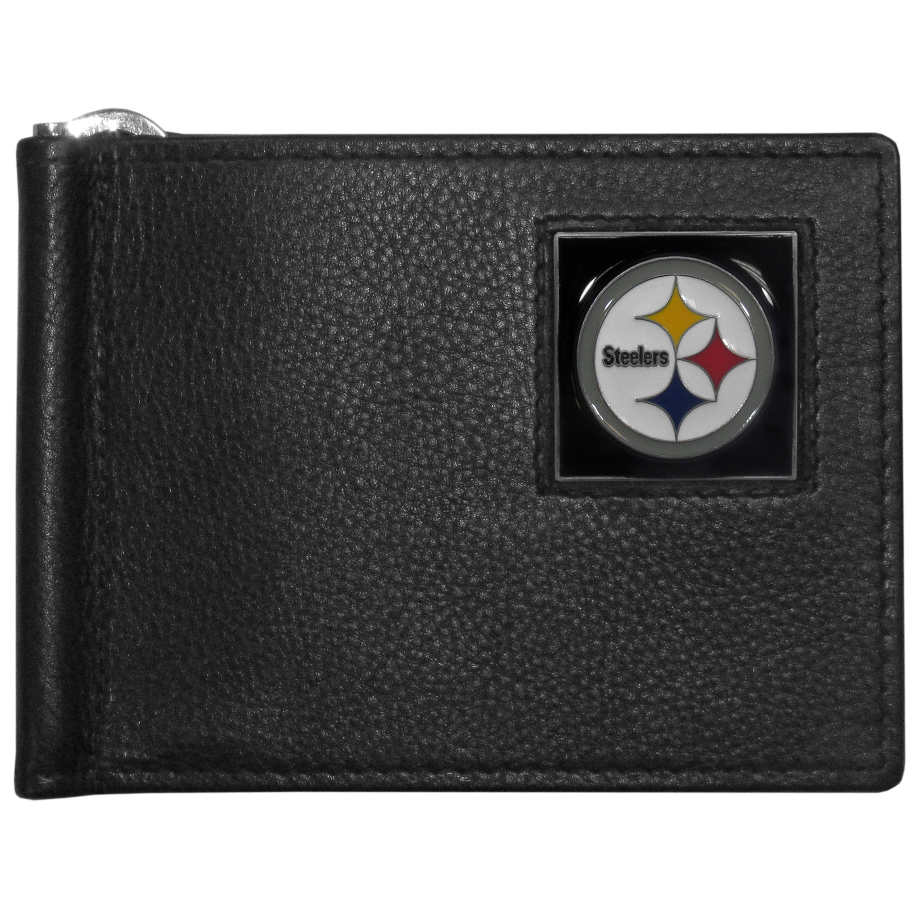 Pittsburgh Steelers Leather Bill Clip Wallet - This cool new style wallet features an inner, metal bill clip that lips up for easy access. The super slim wallet holds tons of stuff with ample pockets, credit card slots & windowed ID slot.  The wallet is made of genuine fine grain leather and it finished with a metal Pittsburgh Steelers emblem. The wallet is shipped in gift box packaging.