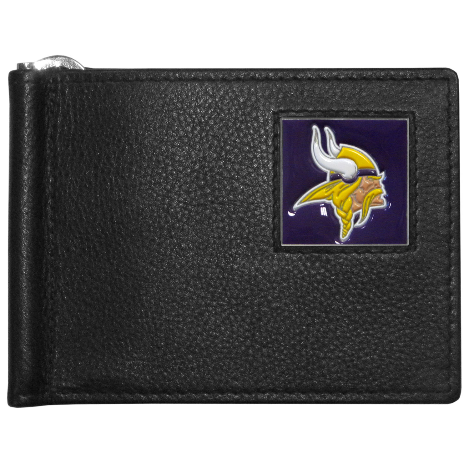 Minnesota Vikings Leather Bill Clip Wallet - This cool new style wallet features an inner, metal bill clip that lips up for easy access. The super slim wallet holds tons of stuff with ample pockets, credit card slots & windowed ID slot.  The wallet is made of genuine fine grain leather and it finished with a metal Minnesota Vikings emblem. The wallet is shipped in gift box packaging.
