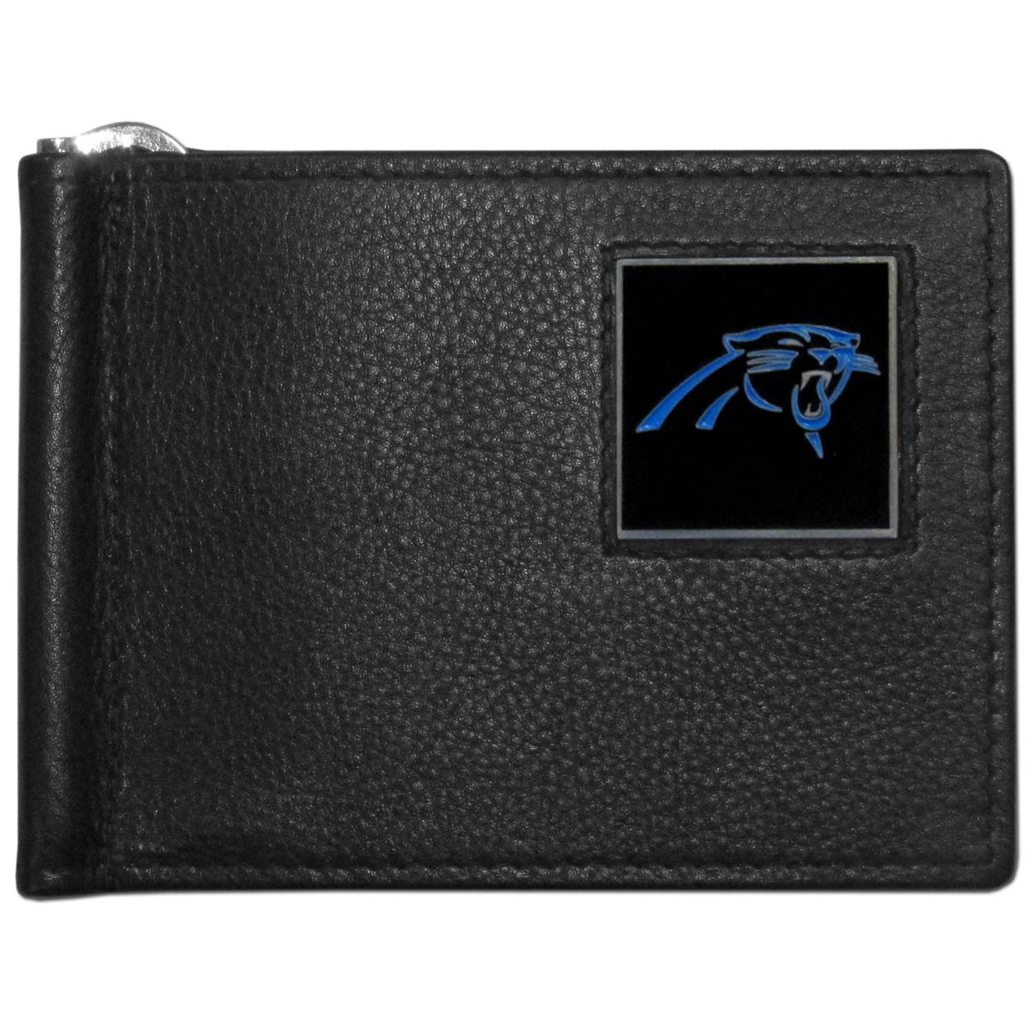 Carolina Panthers Leather Bill Clip Wallet - This cool new style wallet features an inner, metal bill clip that lips up for easy access. The super slim wallet holds tons of stuff with ample pockets, credit card slots & windowed ID slot.  The wallet is made of genuine fine grain leather and it finished with a metal Carolina Panthers emblem. The wallet is shipped in gift box packaging.