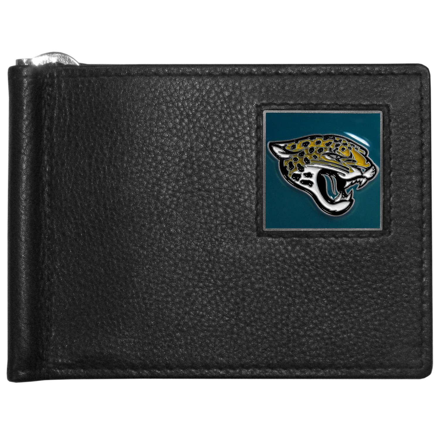 Jacksonville Jaguars Leather Bill Clip Wallet - This cool new style wallet features an inner, metal bill clip that lips up for easy access. The super slim wallet holds tons of stuff with ample pockets, credit card slots & windowed ID slot.  The wallet is made of genuine fine grain leather and it finished with a metal Jacksonville Jaguars emblem. The wallet is shipped in gift box packaging.