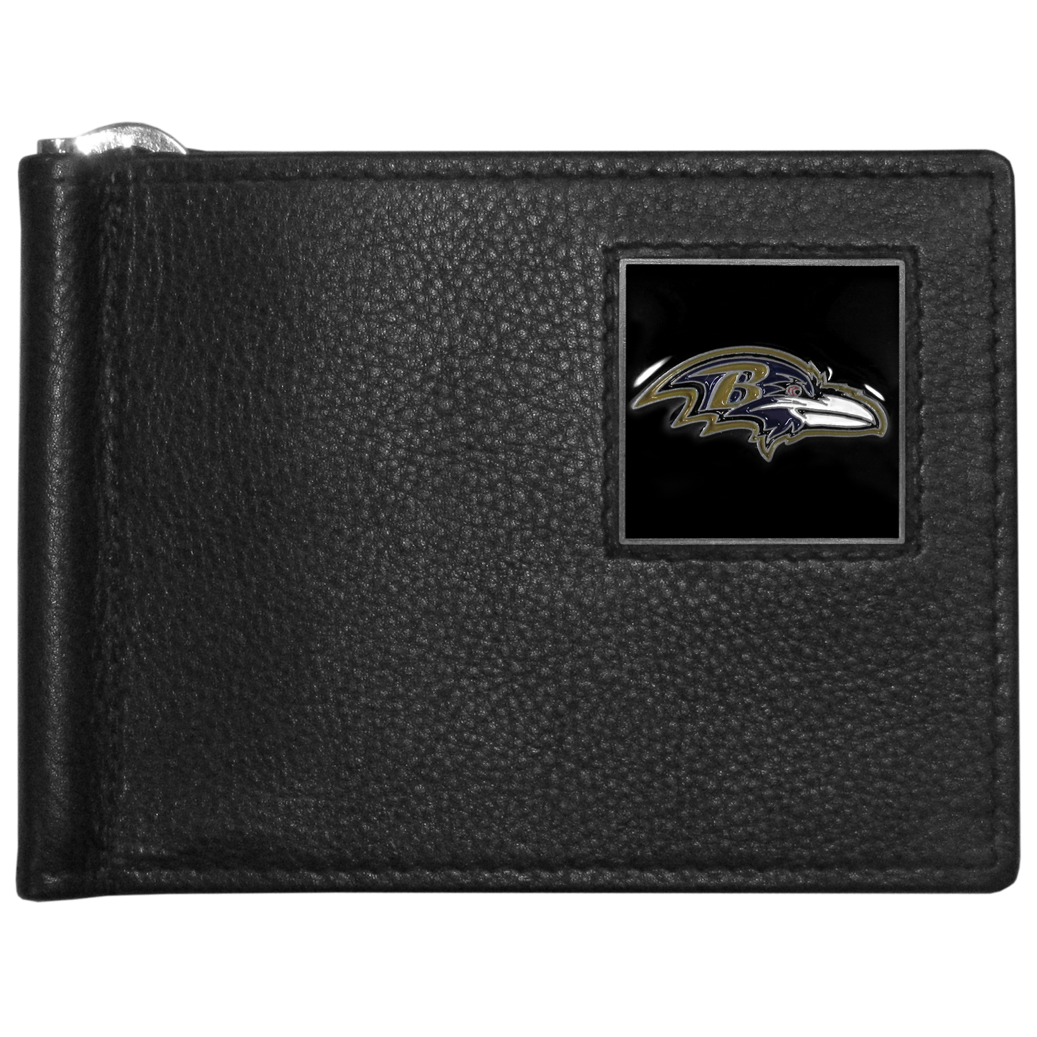 Baltimore Ravens Leather Bill Clip Wallet - This cool new style wallet features an inner, metal bill clip that lips up for easy access. The super slim wallet holds tons of stuff with ample pockets, credit card slots & windowed ID slot.  The wallet is made of genuine fine grain leather and it finished with a metal Baltimore Ravens emblem. The wallet is shipped in gift box packaging.