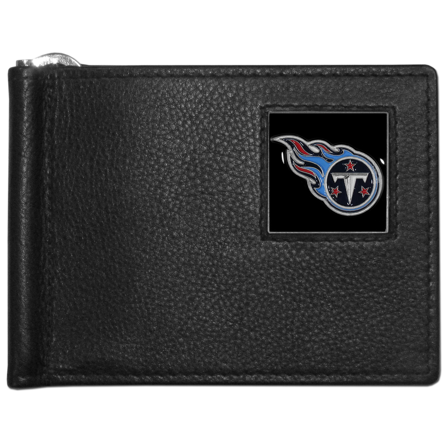 Tennessee Titans Leather Bill Clip Wallet - This cool new style wallet features an inner, metal bill clip that lips up for easy access. The super slim wallet holds tons of stuff with ample pockets, credit card slots & windowed ID slot.  The wallet is made of genuine fine grain leather and it finished with a metal Tennessee Titans emblem. The wallet is shipped in gift box packaging.