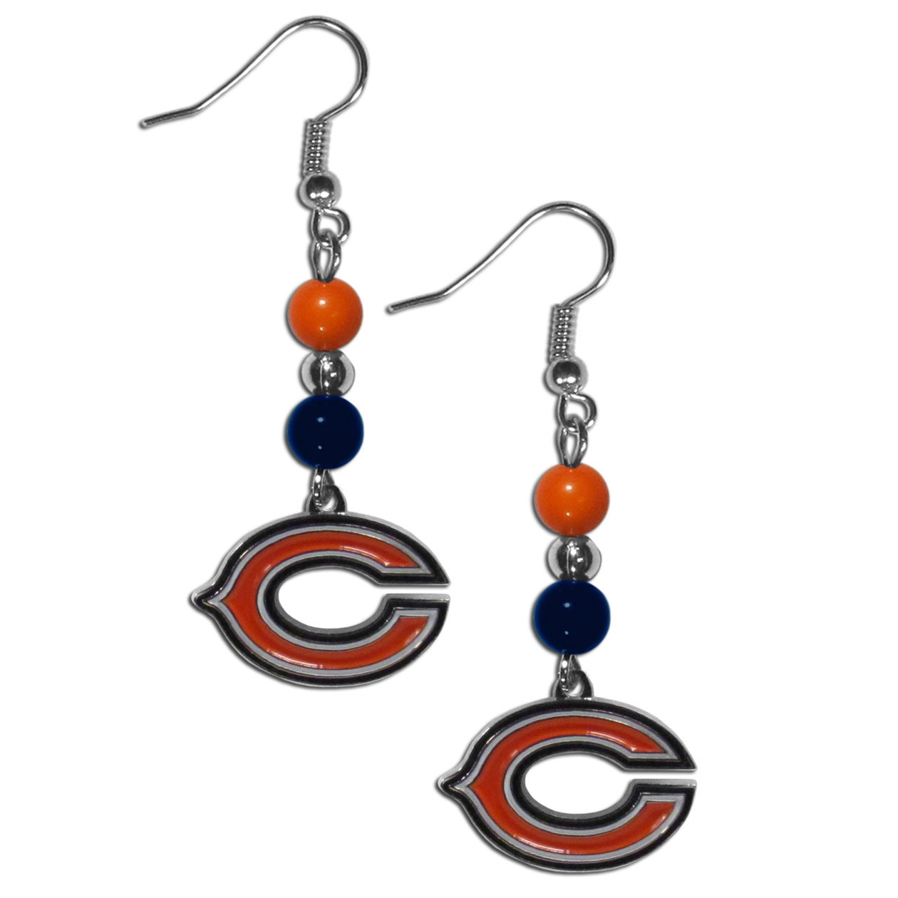 Chicago Bears Fan Bead Dangle Earrings - Love your team, show it off with our Chicago Bears bead dangle earrings! These super cute earrings hang approximately 2 inches and features 2 team colored beads and a high polish team charm. A must have for game day!
