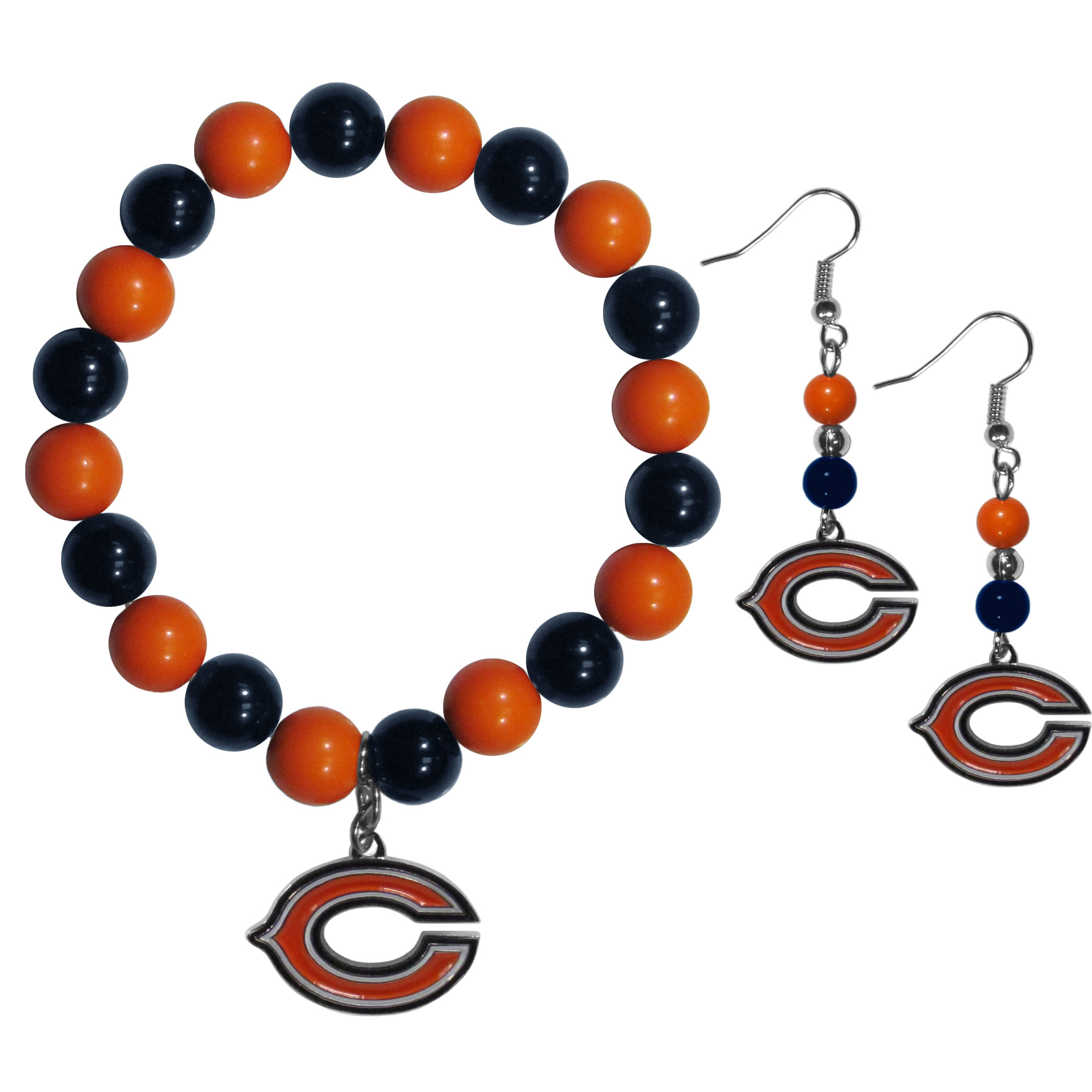 Chicago Bears Fan Bead Earrings and Bracelet Set - This fun and colorful Chicago Bears fan bead jewelry set is fun and casual with eye-catching beads in bright team colors. The fashionable dangle earrings feature a team colored beads that drop down to a carved and enameled charm. The stretch bracelet has larger matching beads that make a striking statement and have a matching team charm. These sassy yet sporty jewelry pieces make a perfect gift for any female fan. Spice up your game-day outfit with these fun colorful earrings and bracelet that are also cute enough for any day.