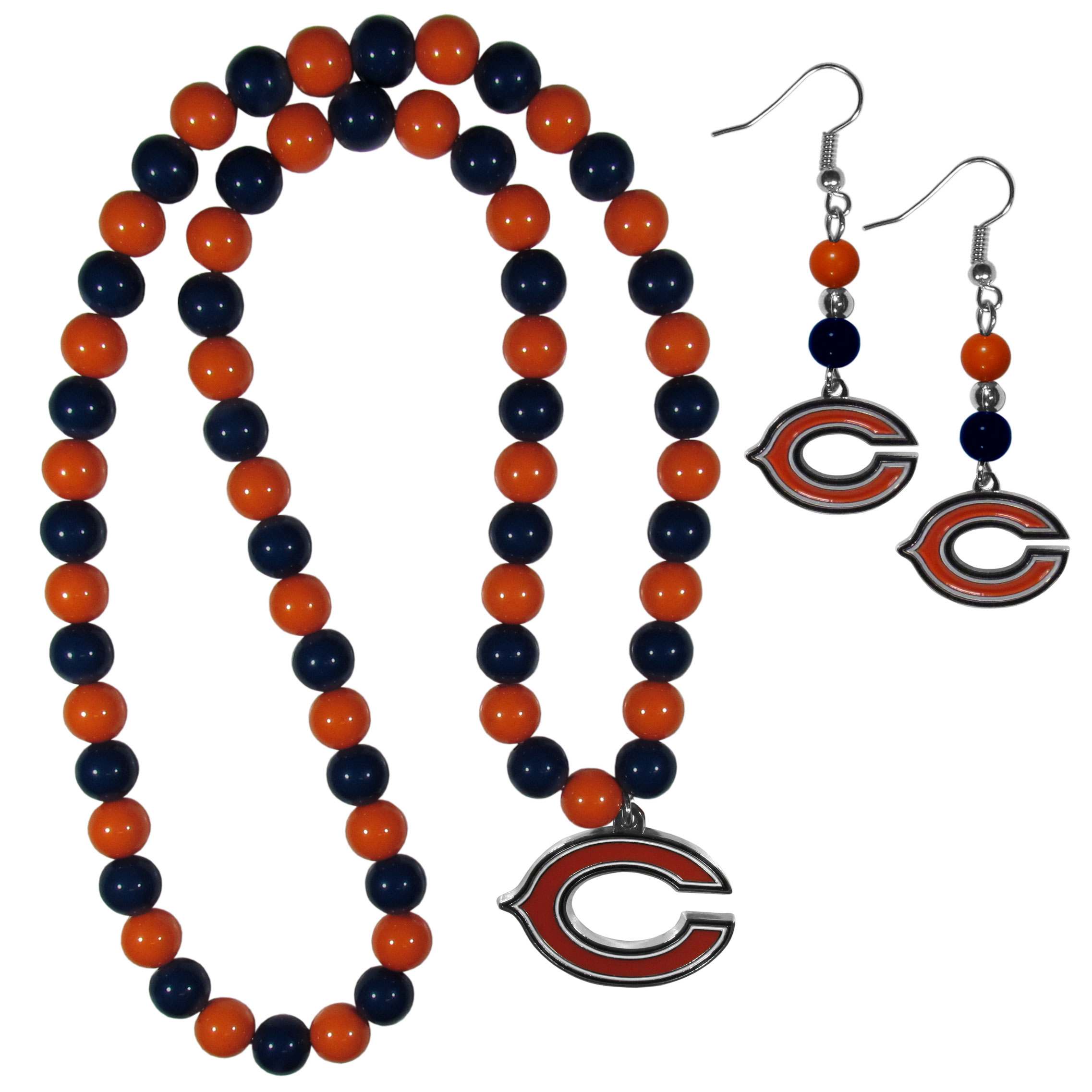 Chicago Bears Fan Bead Earrings and Necklace Set - These fun and colorful Chicago Bears fan bead jewelry pieces are an eyecatching way to show off your team spirit. The earrings feature hypoallergenic, nickel free fishhook post and 2 team colored beads with a beautifully carved team charm to finish this attractive dangle look. The mathcing bracelet has alternating team colored beads on a stretch cord and features a matching team charm.