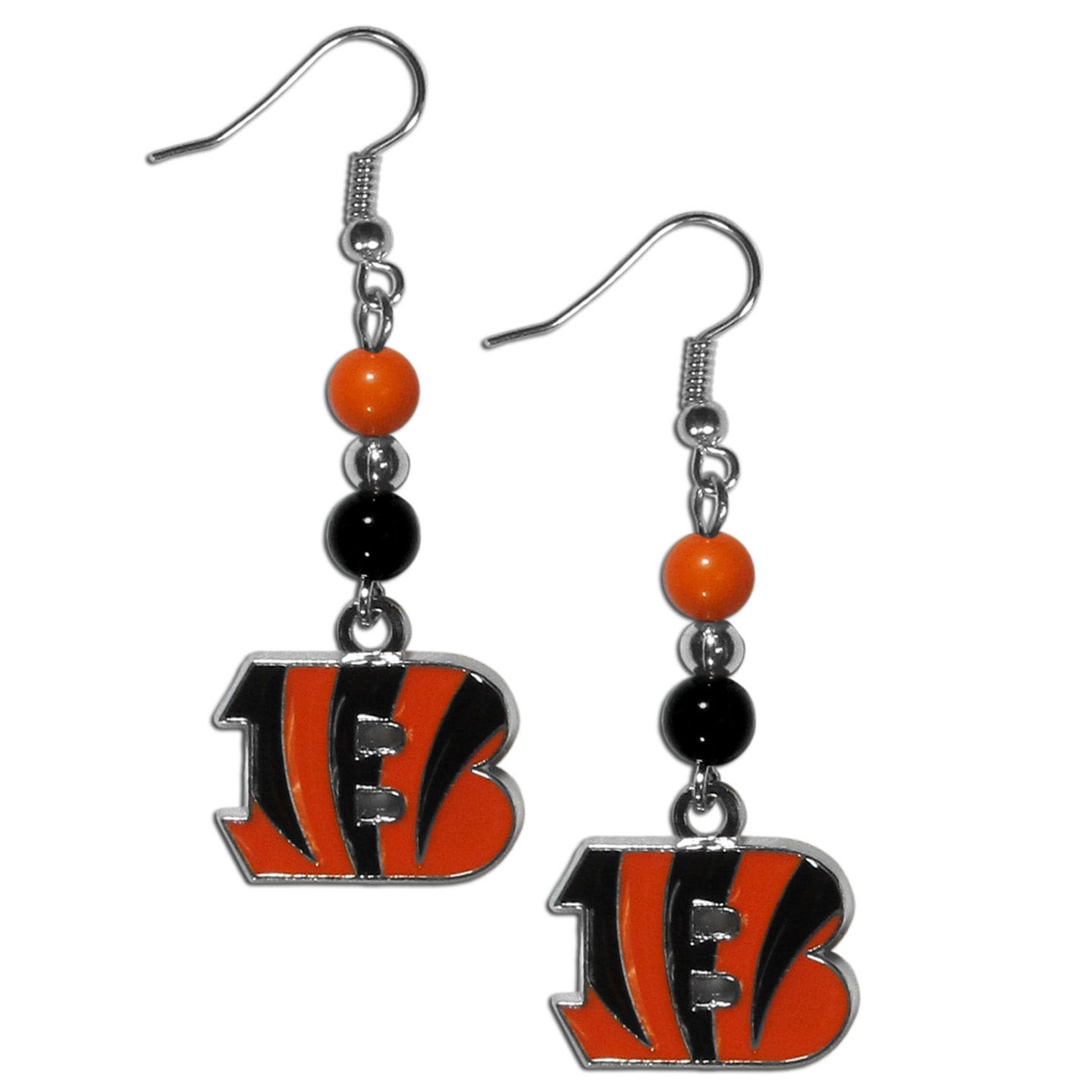 Cincinnati Bengals Fan Bead Dangle Earrings - Love your team, show it off with our Cincinnati Bengals bead dangle earrings! These super cute earrings hang approximately 2 inches and features 2 team colored beads and a high polish team charm. A must have for game day!