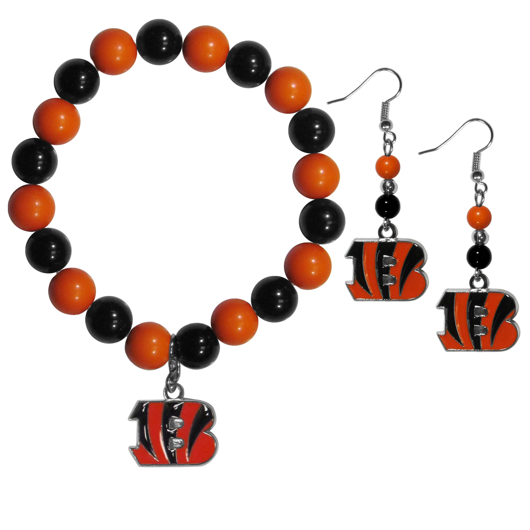 Cincinnati Bengals Fan Bead Earrings and Bracelet Set - This fun and colorful Cincinnati Bengals fan bead jewelry set is fun and casual with eye-catching beads in bright team colors. The fashionable dangle earrings feature a team colored beads that drop down to a carved and enameled charm. The stretch bracelet has larger matching beads that make a striking statement and have a matching team charm. These sassy yet sporty jewelry pieces make a perfect gift for any female fan. Spice up your game-day outfit with these fun colorful earrings and bracelet that are also cute enough for any day.