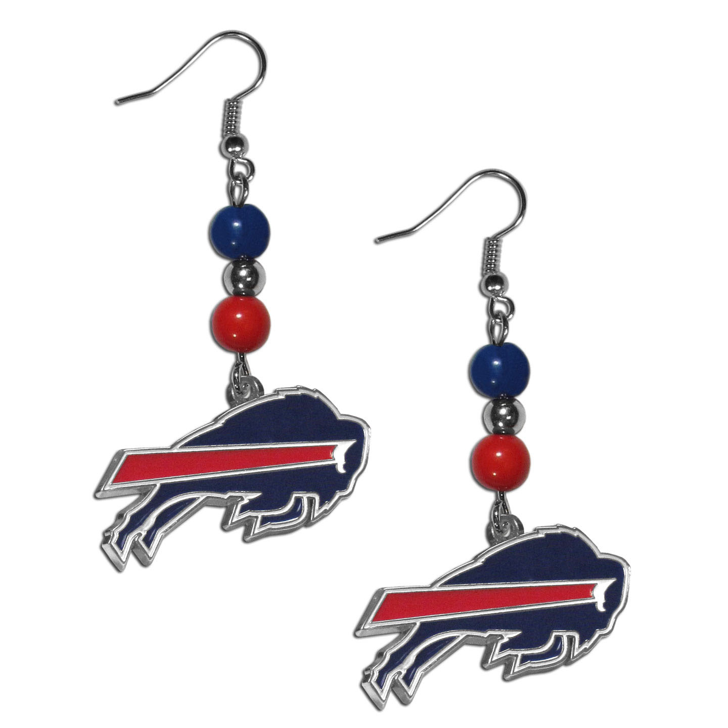 Buffalo Bills Fan Bead Dangle Earrings - Love your team, show it off with our Buffalo Bills bead dangle earrings! These super cute earrings hang approximately 2 inches and features 2 team colored beads and a high polish team charm. A must have for game day!