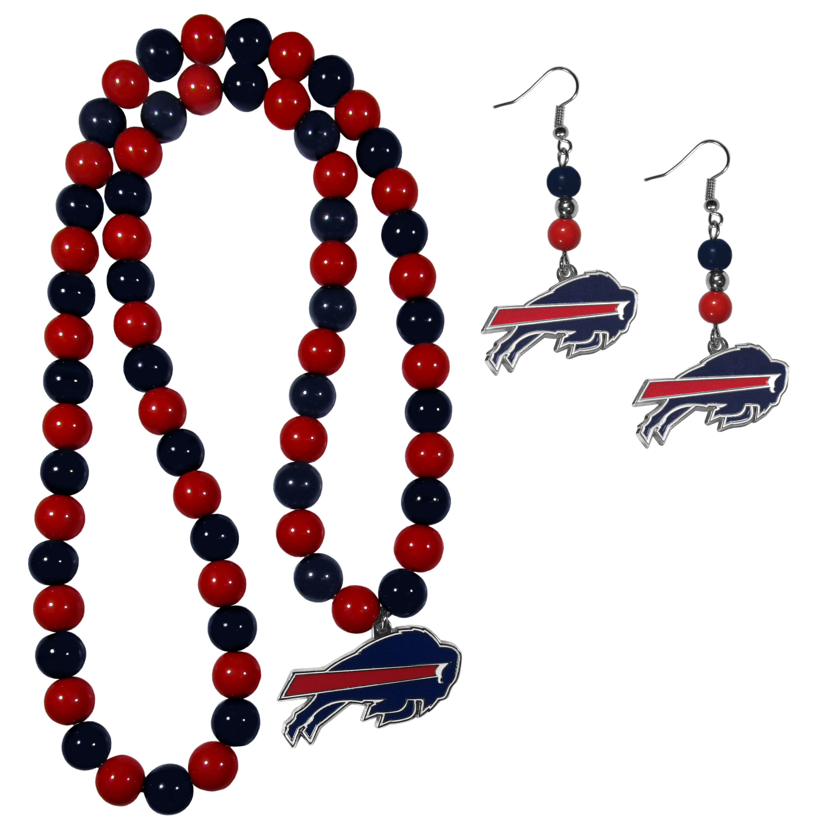 Buffalo Bills Fan Bead Earrings and Necklace Set - These fun and colorful Buffalo Bills fan bead jewelry pieces are an eyecatching way to show off your team spirit. The earrings feature hypoallergenic, nickel free fishhook post and 2 team colored beads with a beautifully carved team charm to finish this attractive dangle look. The mathcing bracelet has alternating team colored beads on a stretch cord and features a matching team charm.