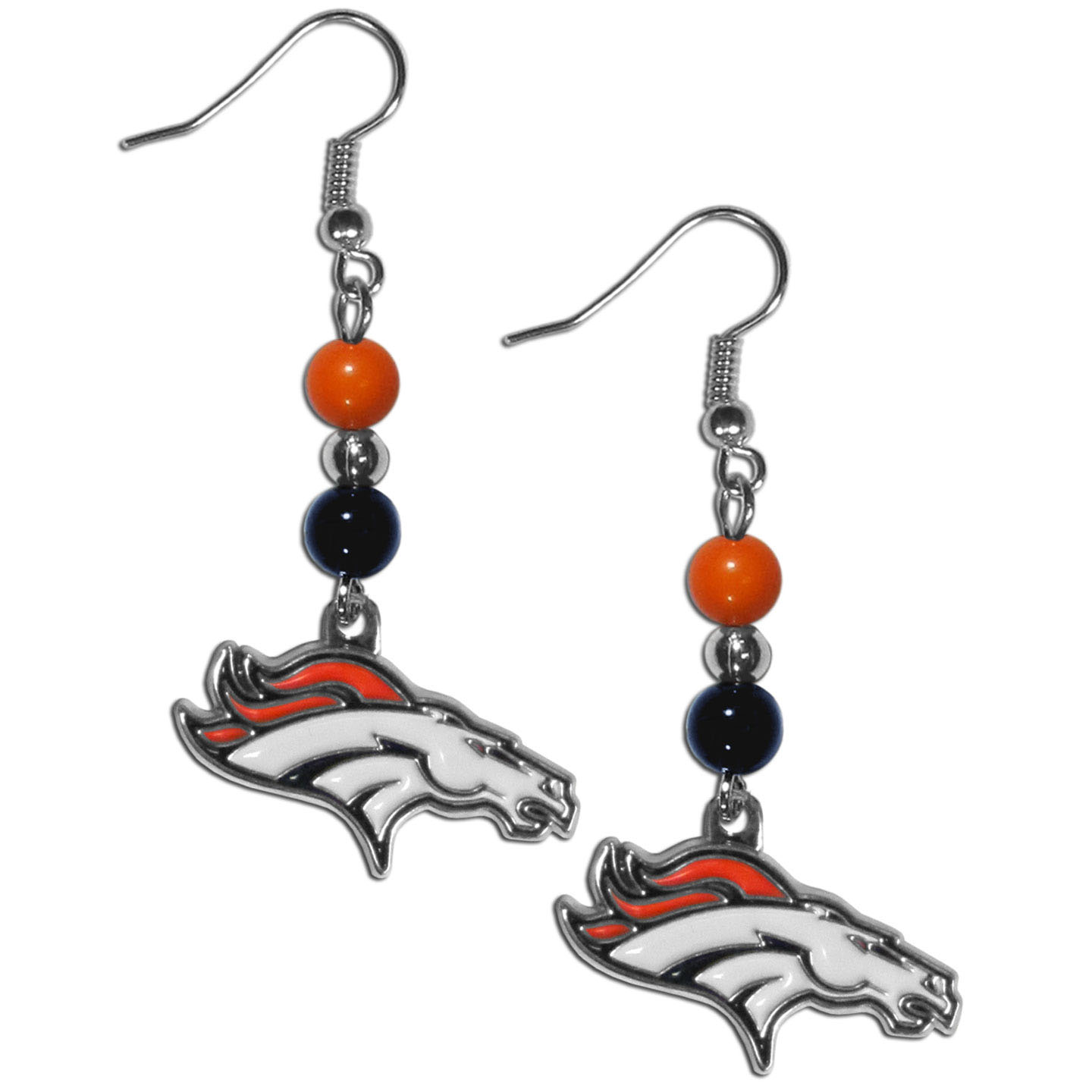 Denver Broncos Fan Bead Dangle Earrings - Love your team, show it off with our Denver Broncos bead dangle earrings! These super cute earrings hang approximately 2 inches and features 2 team colored beads and a high polish team charm. A must have for game day!