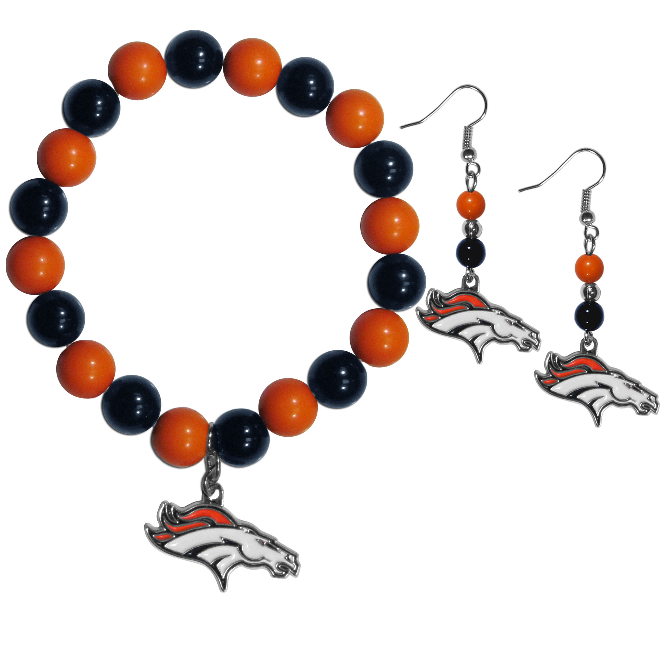 Denver Broncos Fan Bead Earrings and Bracelet Set - This fun and colorful Denver Broncos fan bead jewelry set is fun and casual with eye-catching beads in bright team colors. The fashionable dangle earrings feature a team colored beads that drop down to a carved and enameled charm. The stretch bracelet has larger matching beads that make a striking statement and have a matching team charm. These sassy yet sporty jewelry pieces make a perfect gift for any female fan. Spice up your game-day outfit with these fun colorful earrings and bracelet that are also cute enough for any day.