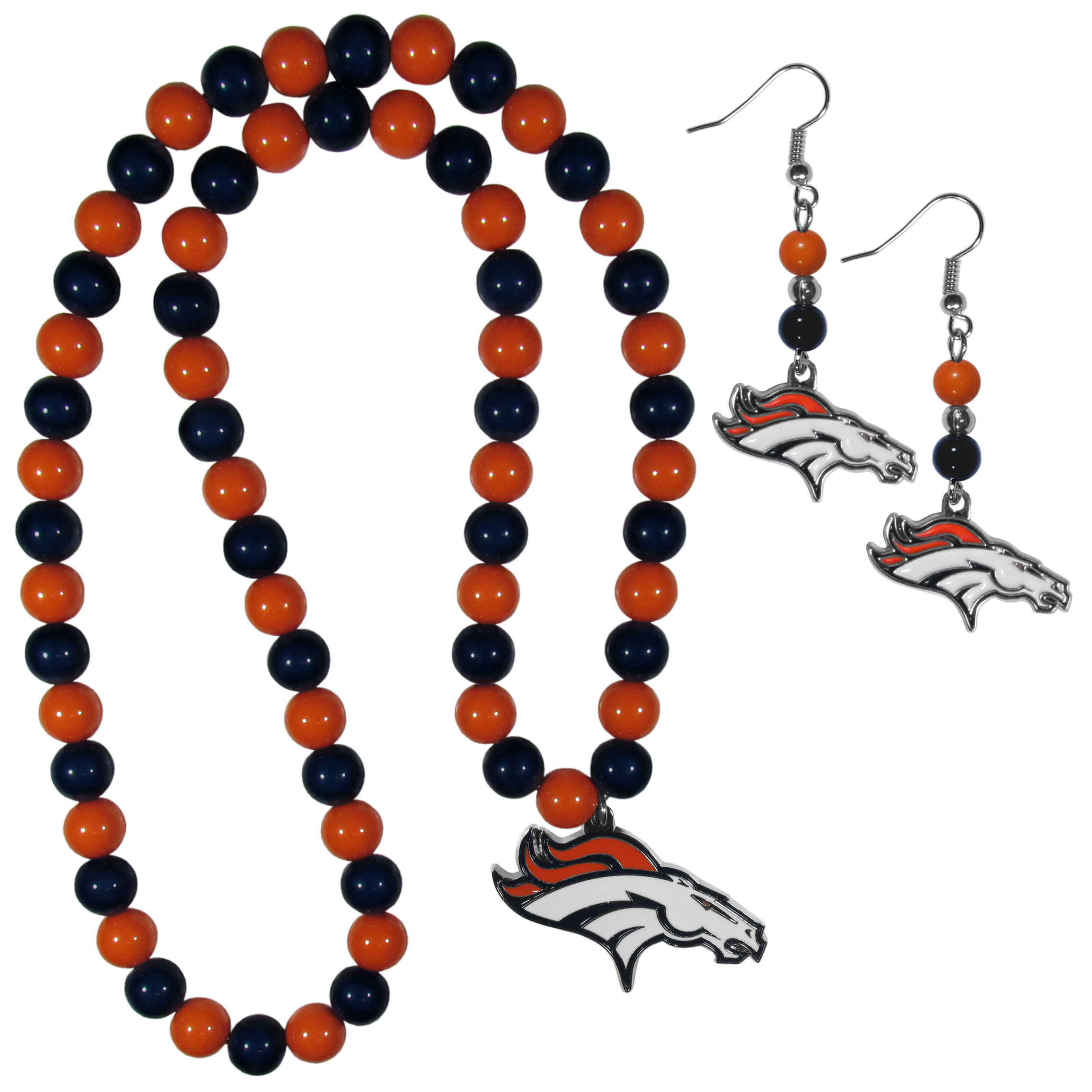 Denver Broncos Fan Bead Earrings and Necklace Set - These fun and colorful Denver Broncos fan bead jewelry pieces are an eyecatching way to show off your team spirit. The earrings feature hypoallergenic, nickel free fishhook post and 2 team colored beads with a beautifully carved team charm to finish this attractive dangle look. The mathcing bracelet has alternating team colored beads on a stretch cord and features a matching team charm.