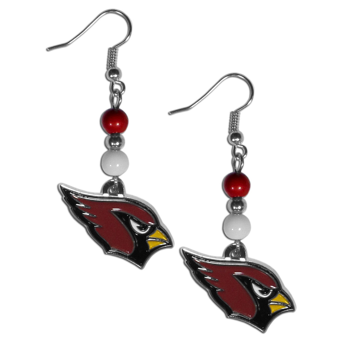 Arizona Cardinals Fan Bead Dangle Earrings - Love your team, show it off with our Arizona Cardinals bead dangle earrings! These super cute earrings hang approximately 2 inches and features 2 team colored beads and a high polish team charm. A must have for game day!